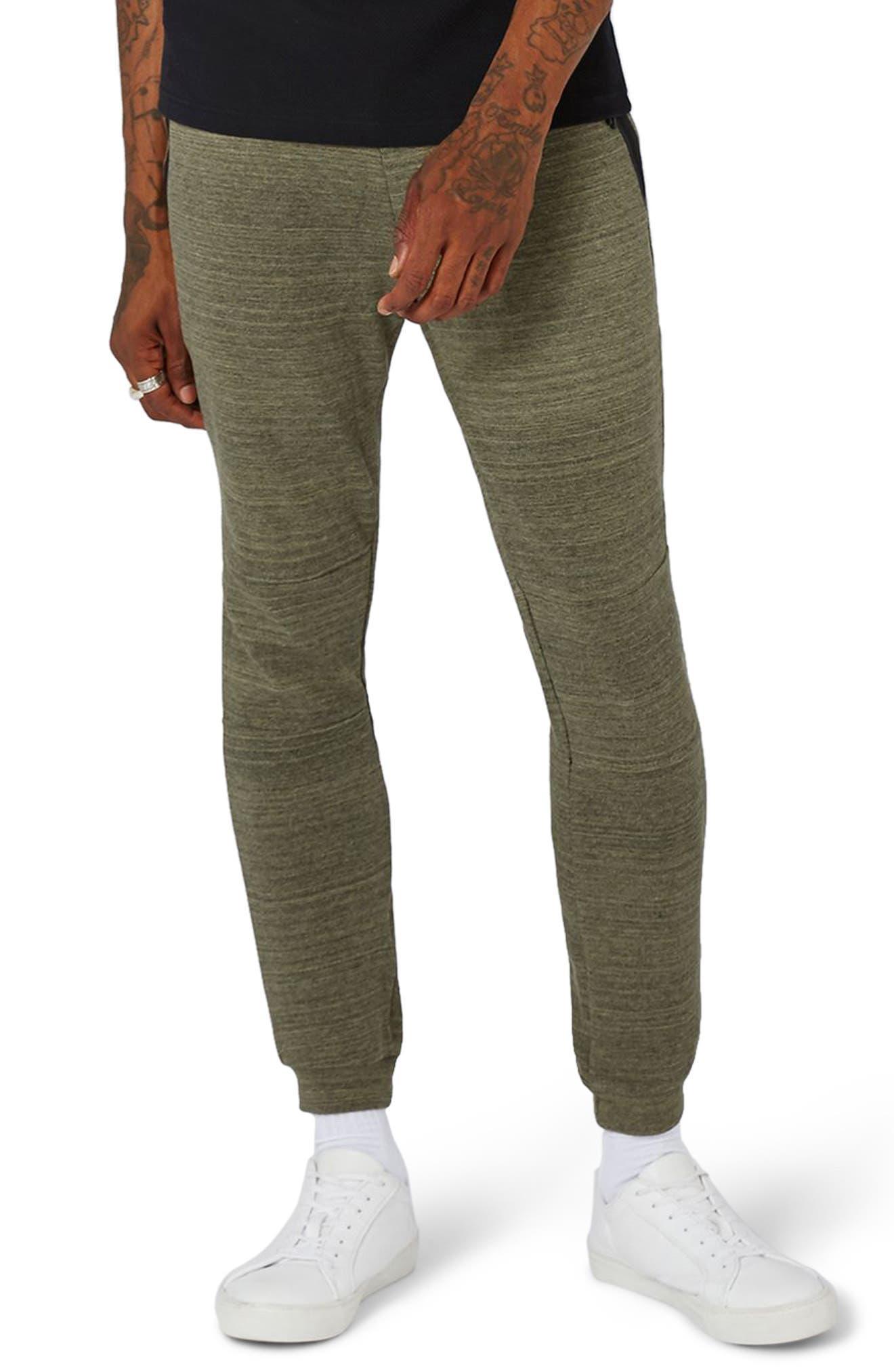 Zip Detail Skinny Jogger Pants,                         Main,                         color, Olive