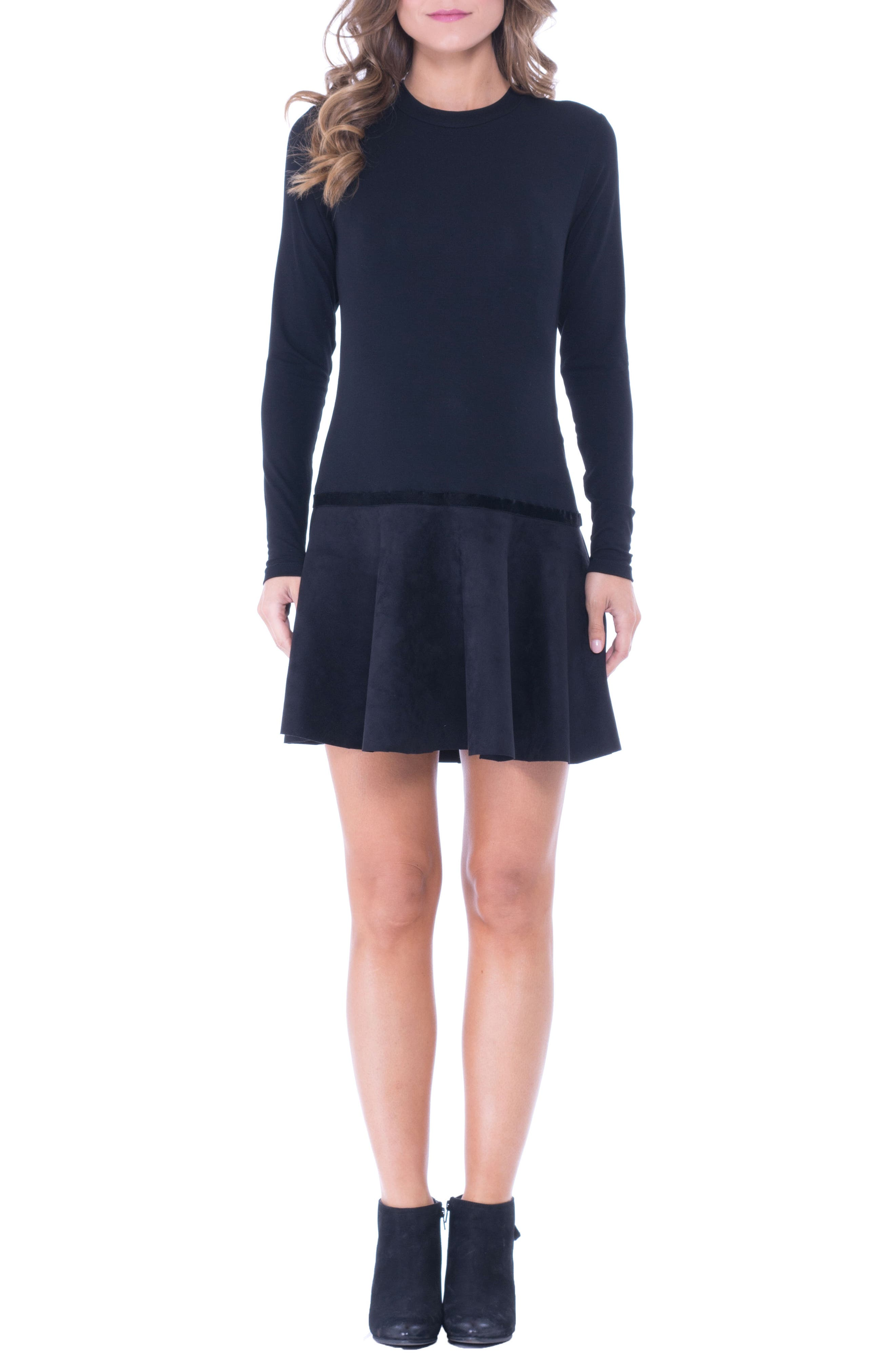 Faux Suede Skirt Maternity Skater Dress,                         Main,                         color, Black