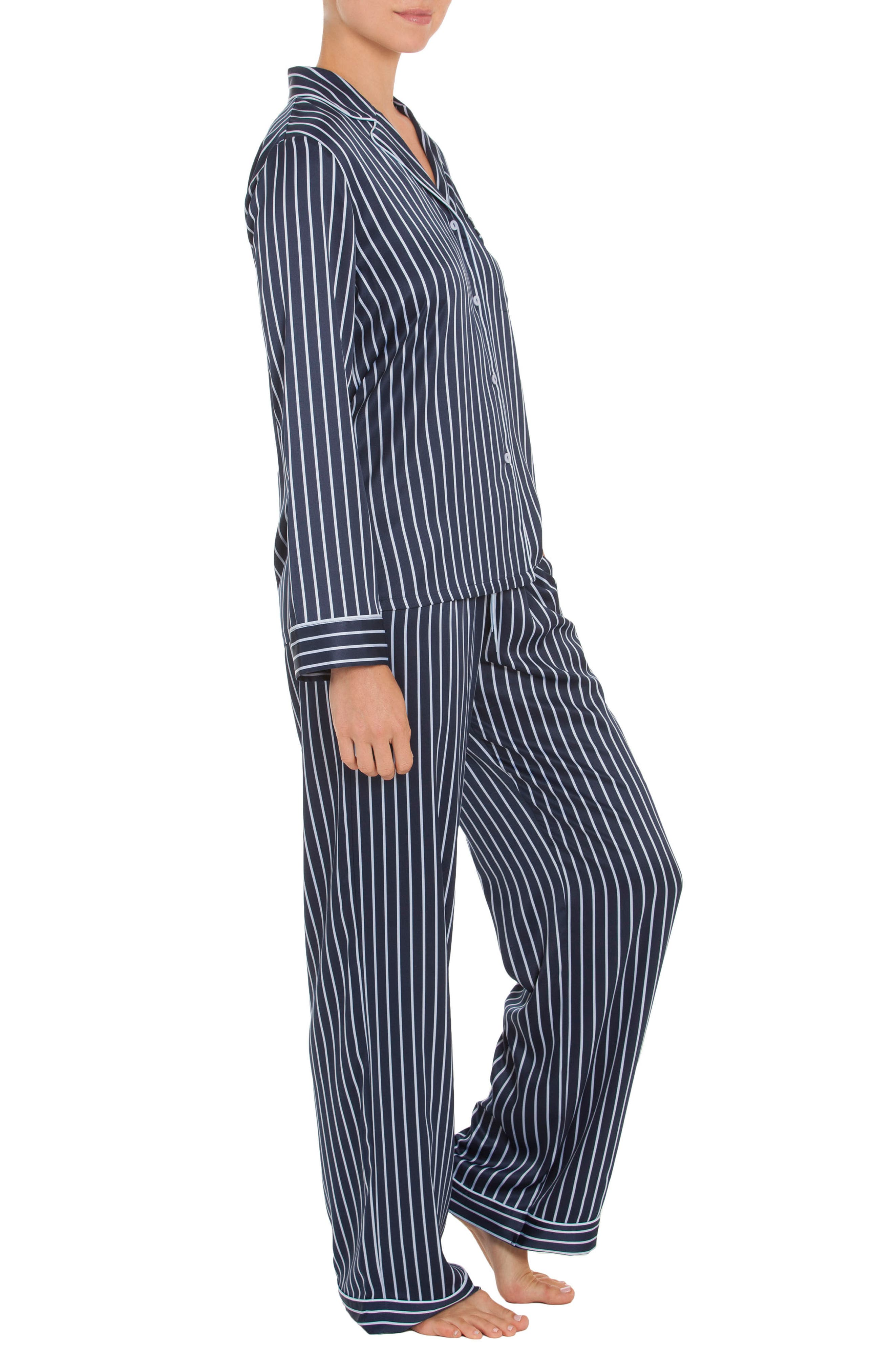 Pajamas,                             Alternate thumbnail 3, color,                             Navy Stripe