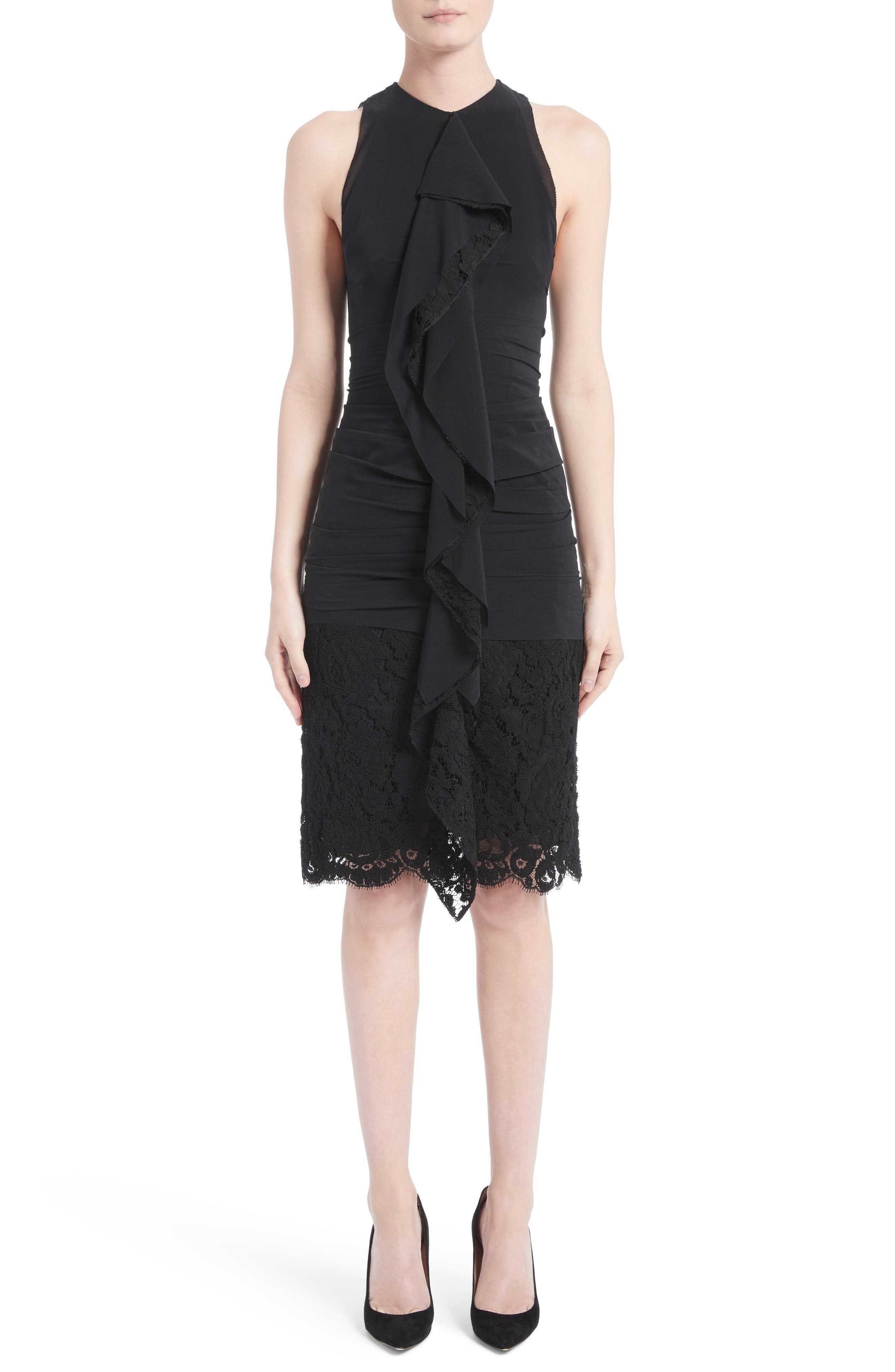 Ruffle Front Corded Lace Hem Dress,                             Main thumbnail 1, color,                             Black