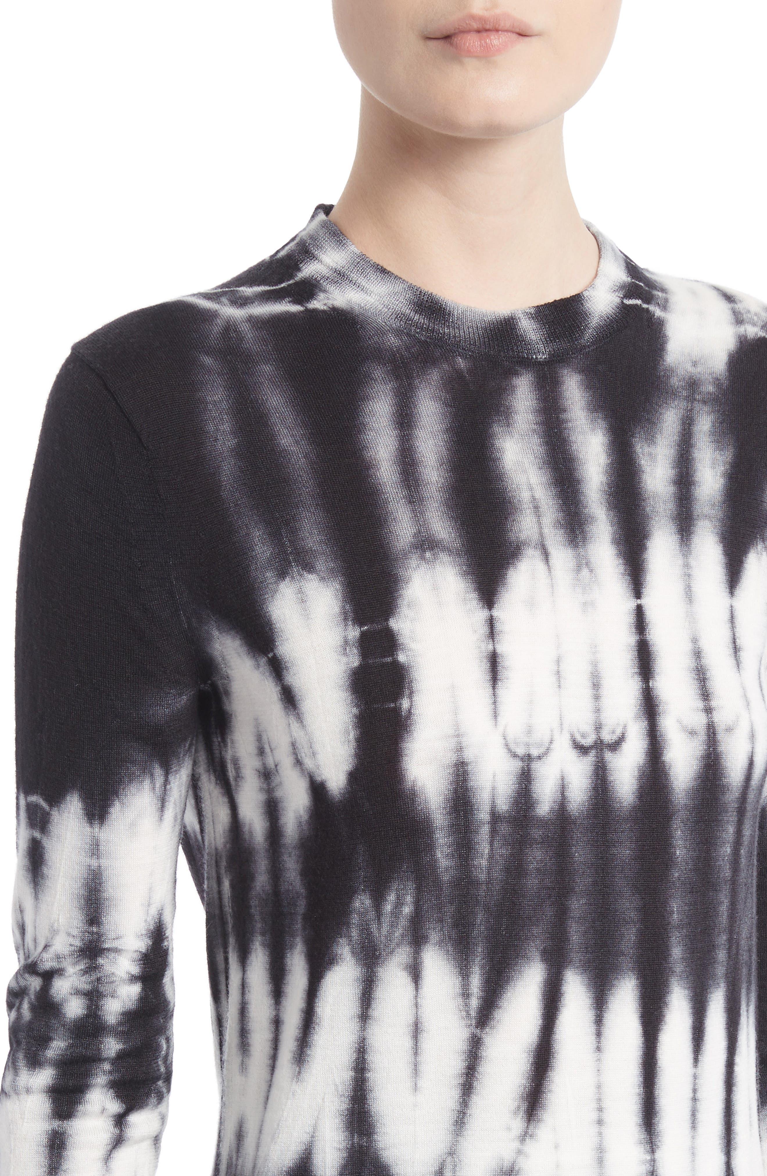 Tie Dye Wool Sweater,                             Alternate thumbnail 4, color,                             Black/ White