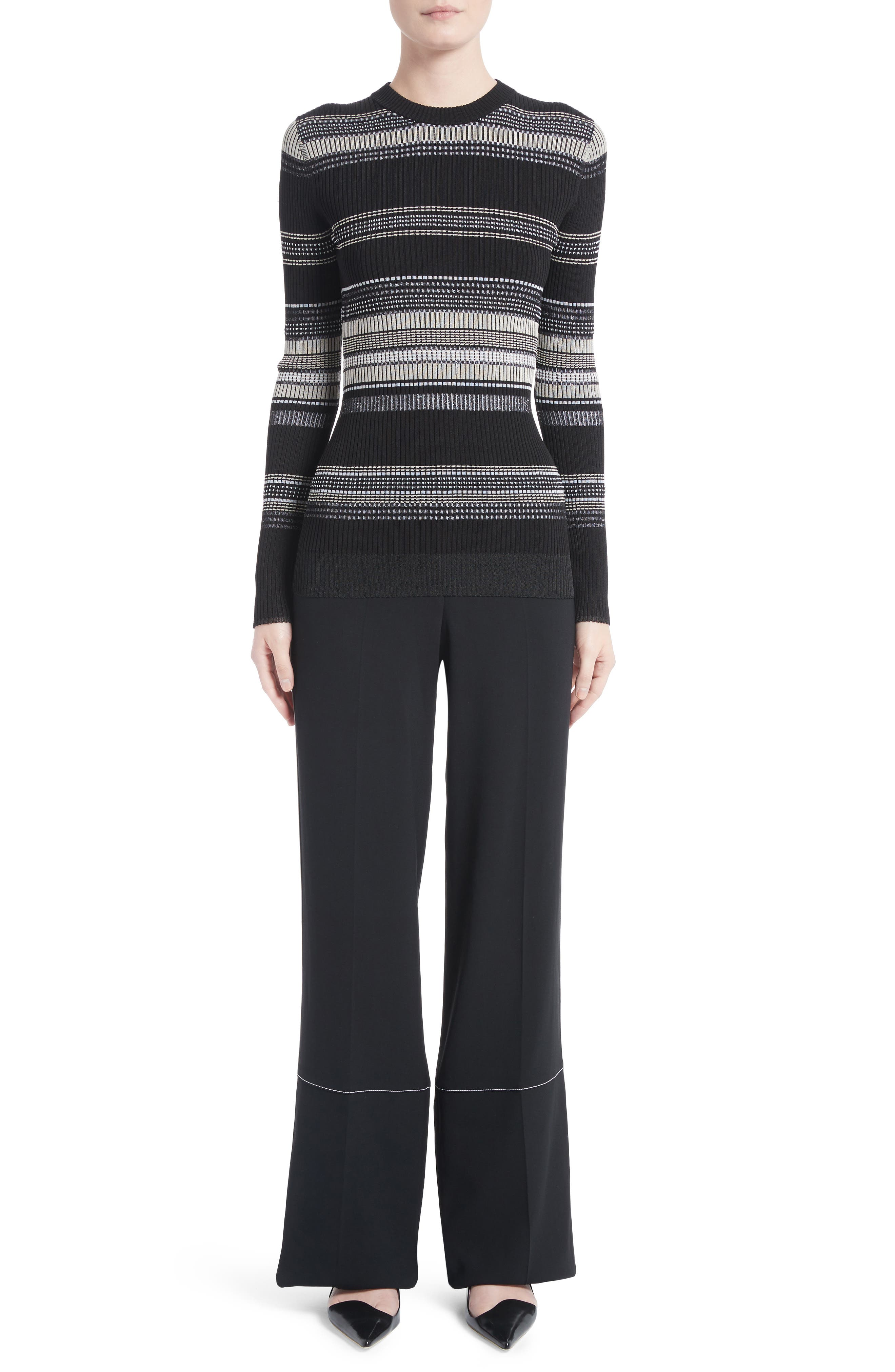 Racing Stripe Wide Leg Pants,                             Alternate thumbnail 9, color,                             Black