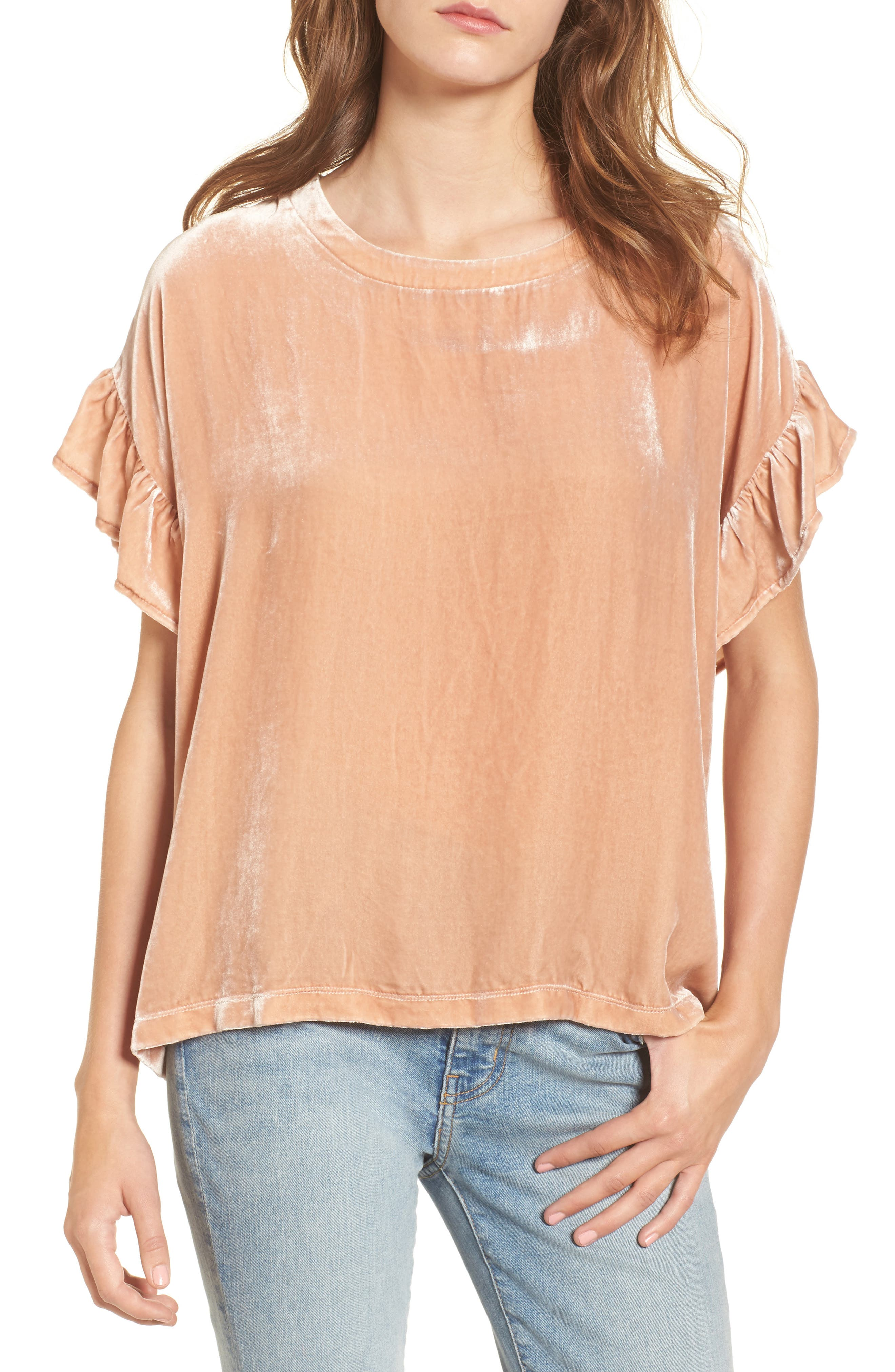 The Janie Velvet Top,                         Main,                         color, Muted Misty Rose
