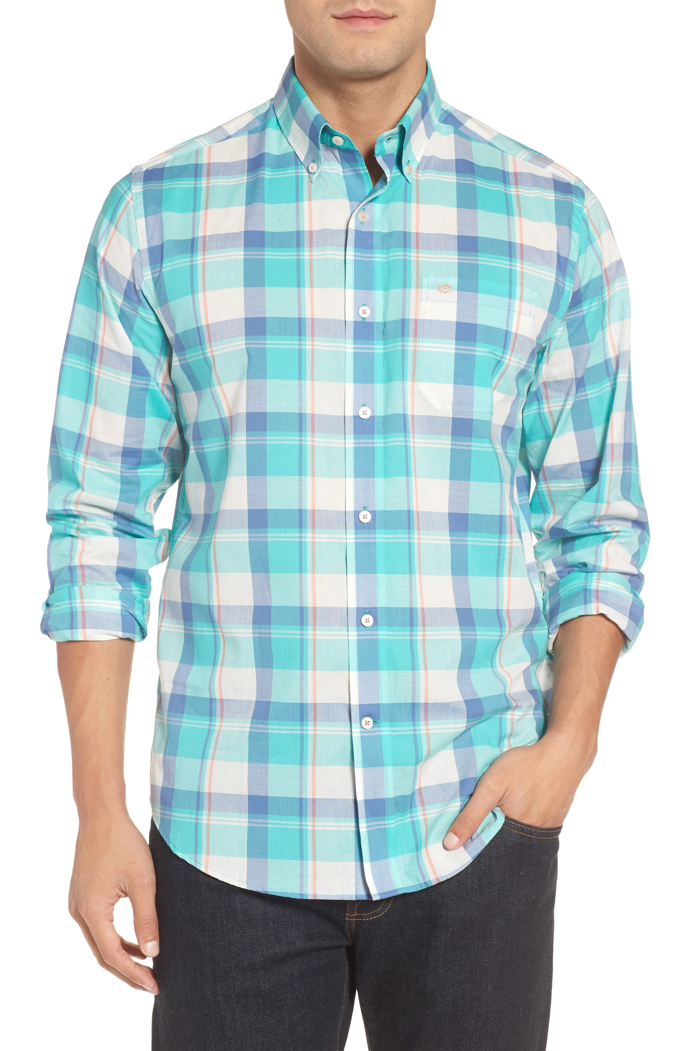 Alternate Image 1 Selected - Southern Tide Green Cay Plaid Sport Shirt