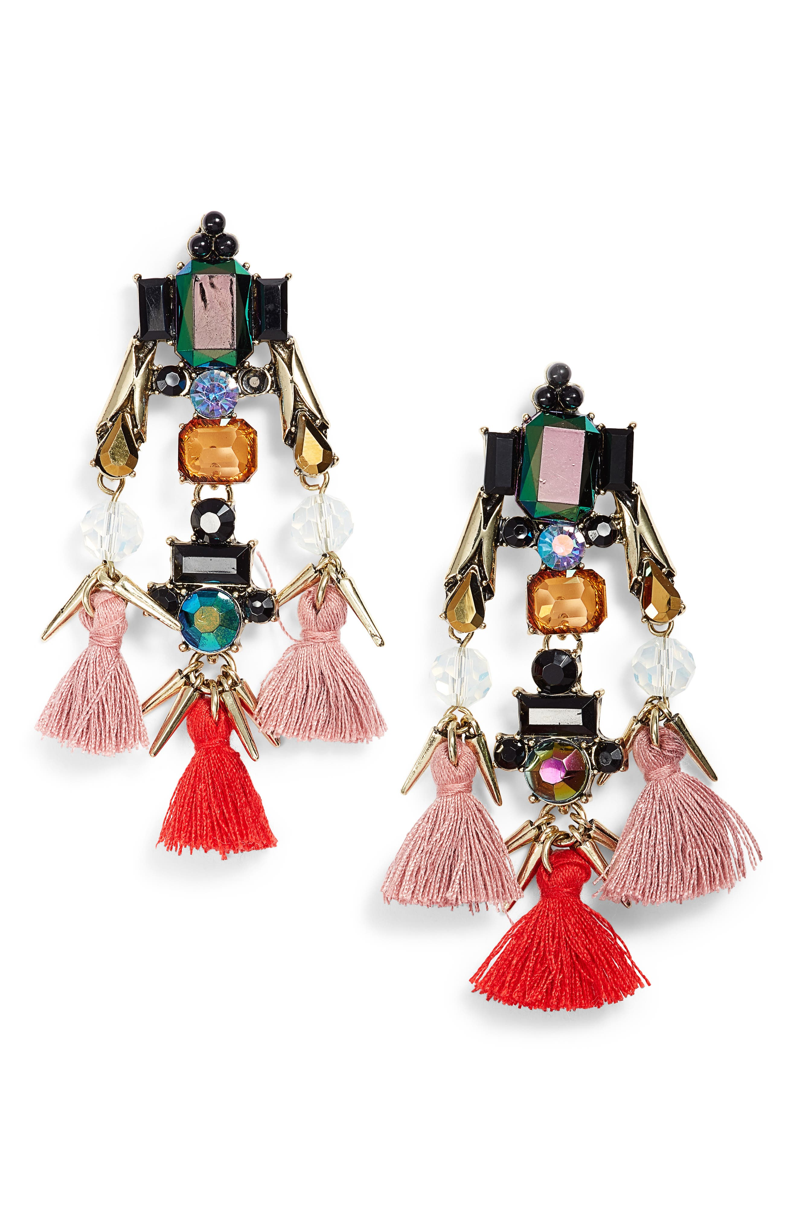 Main Image - Sole Society Tassel & Crystal Chandelier Earrings