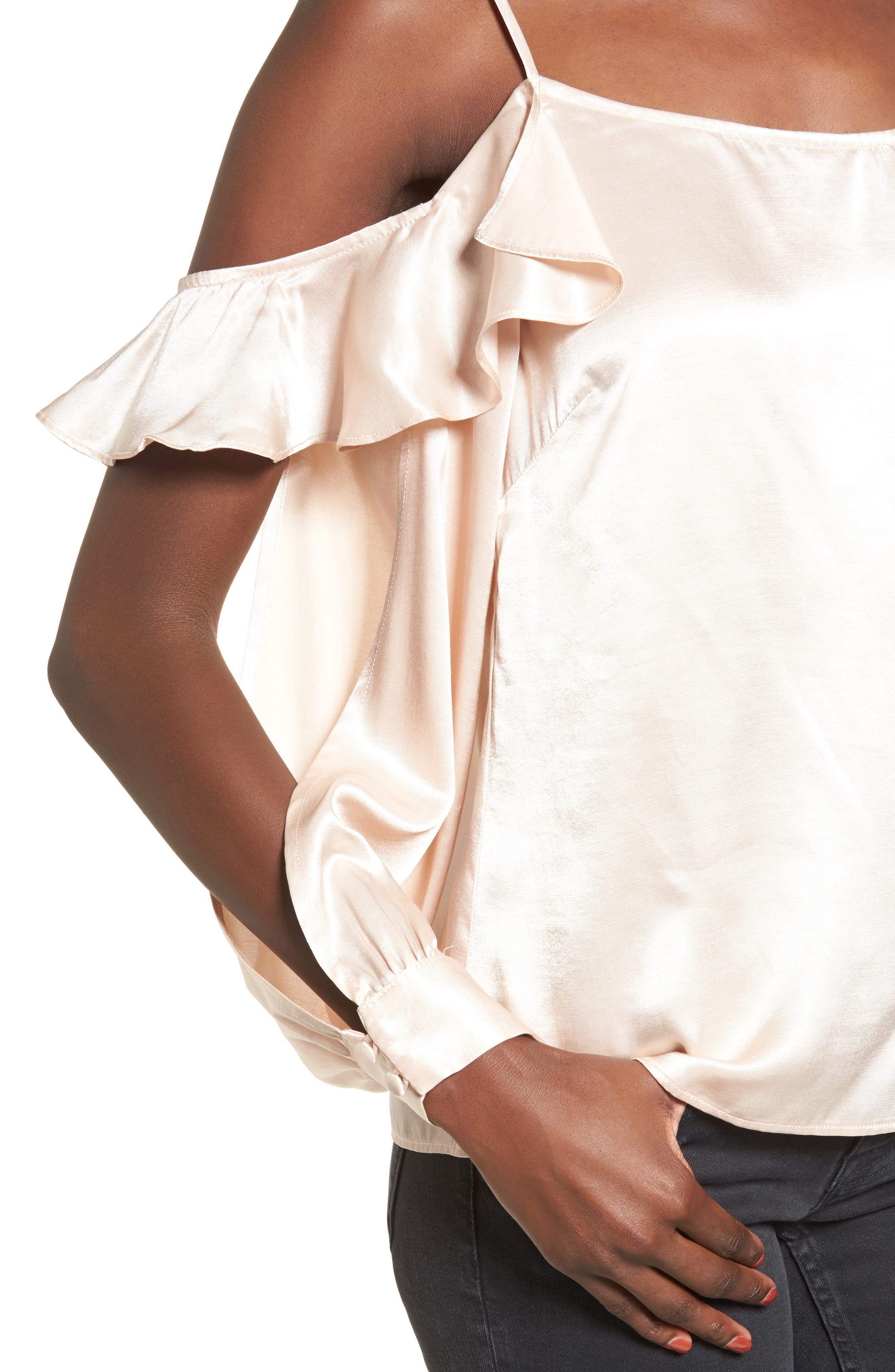 L'Academie The Open Sleeve Blouse,                             Alternate thumbnail 4, color,                             Champagne