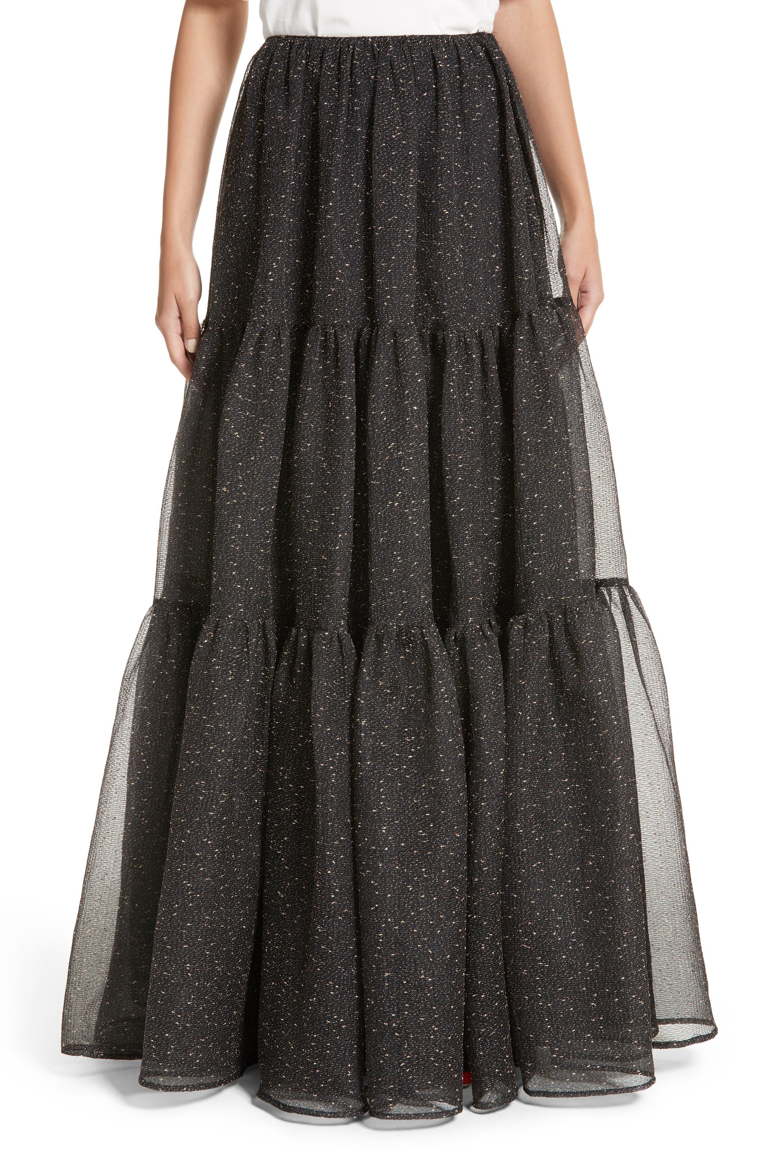 Tiered Organza Maxi Skirt,                         Main,                         color, Organza Black And Gold