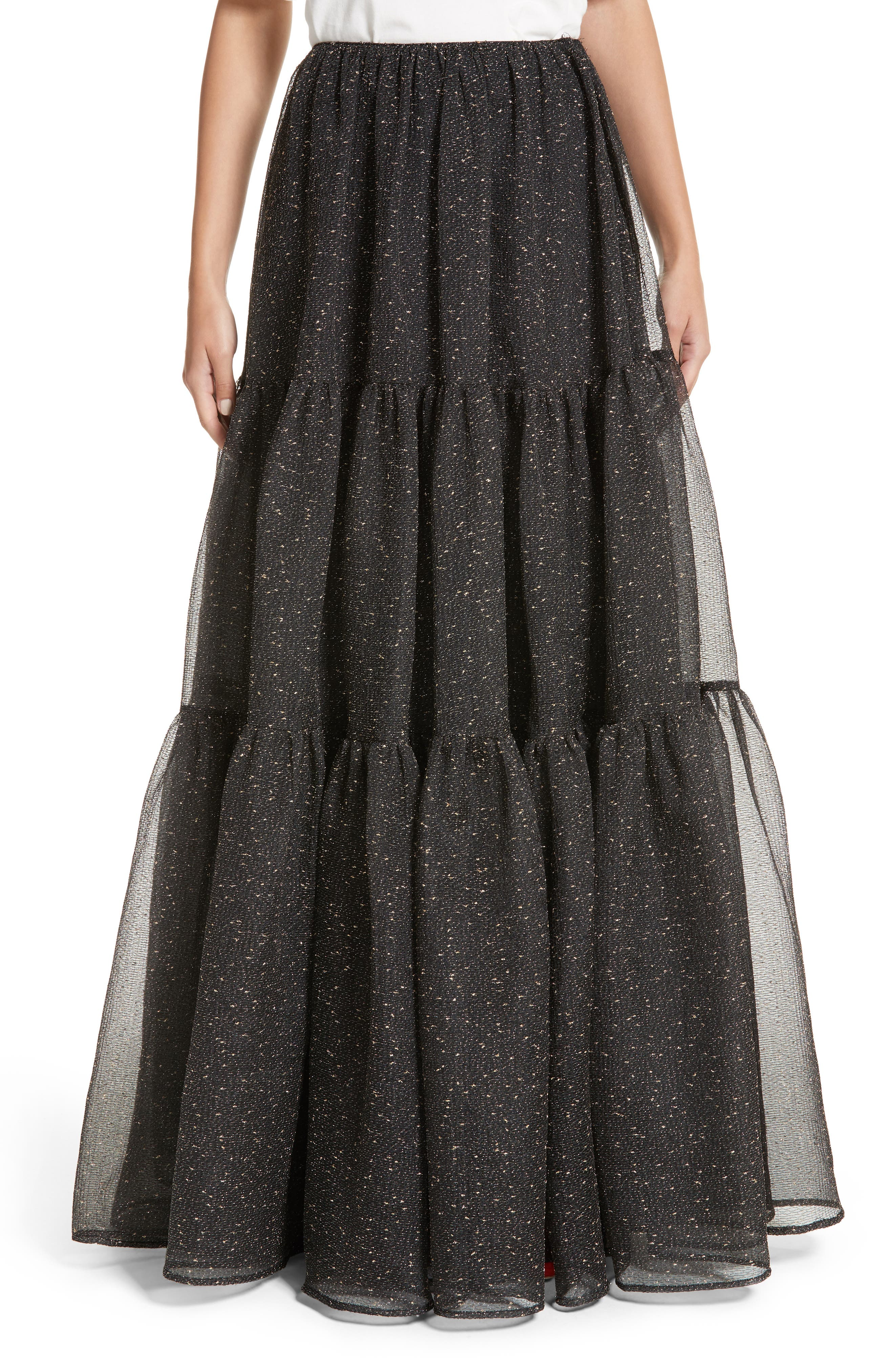 Tiered Organza Maxi Skirt,                         Main,                         color, Organza Black And Gold