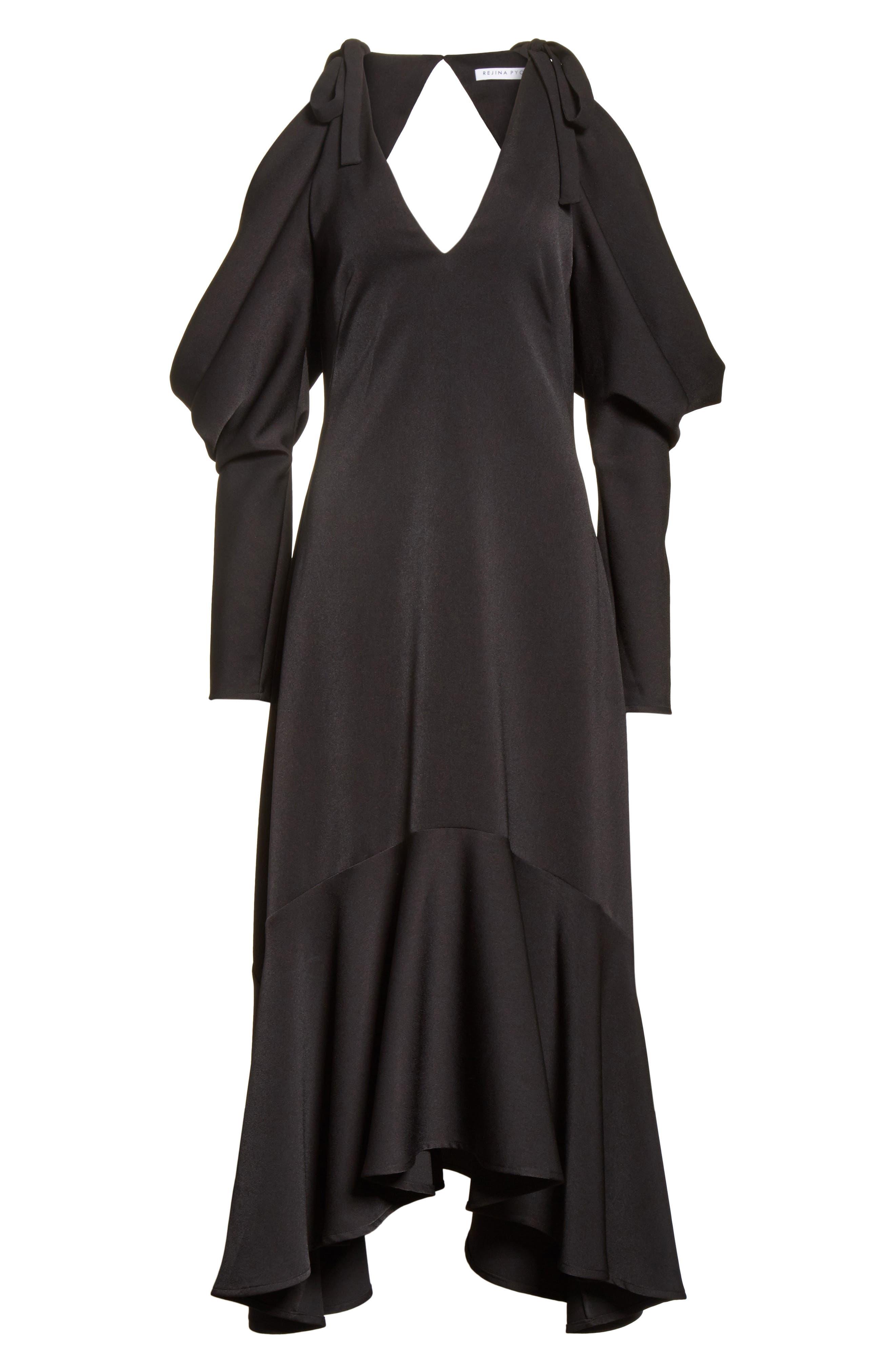Open Back Cold Shoulder Dress,                             Alternate thumbnail 7, color,                             Crepe Satin Black