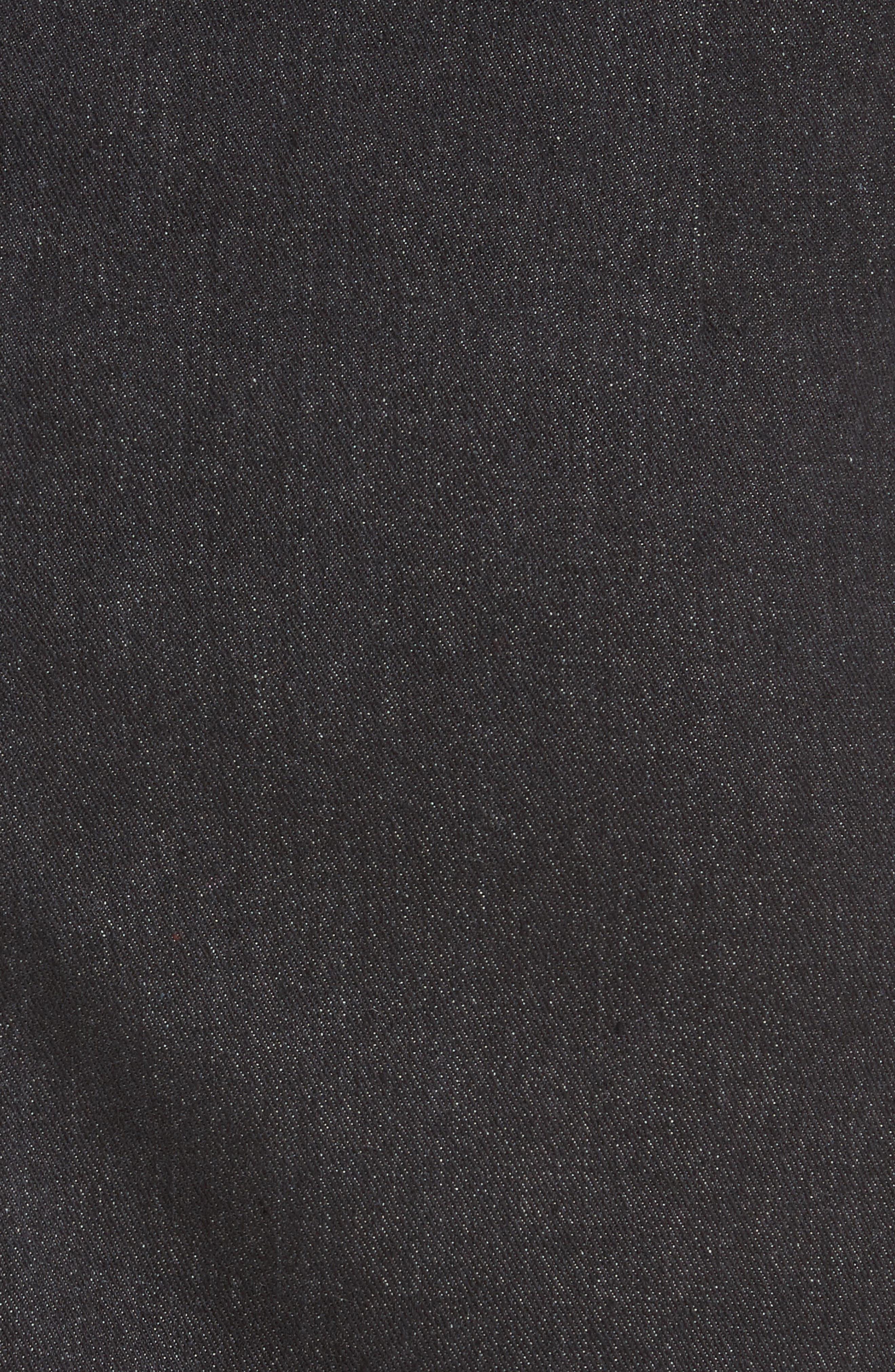 Belted Ruffle Denim Miniskirt,                             Alternate thumbnail 6, color,                             Cotton Denim Black