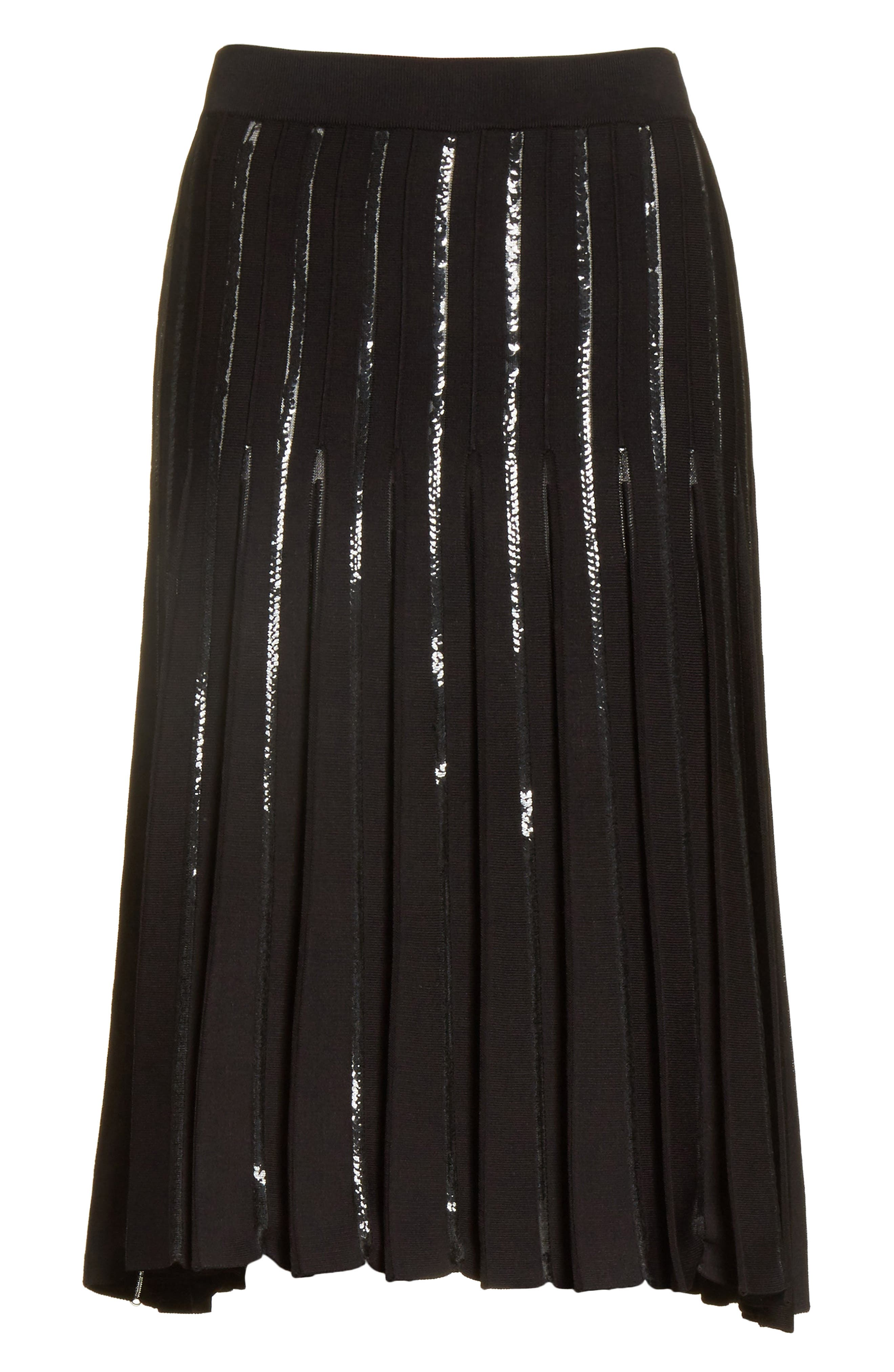 Pleated Sequin Flare Skirt,                             Alternate thumbnail 7, color,                             Black