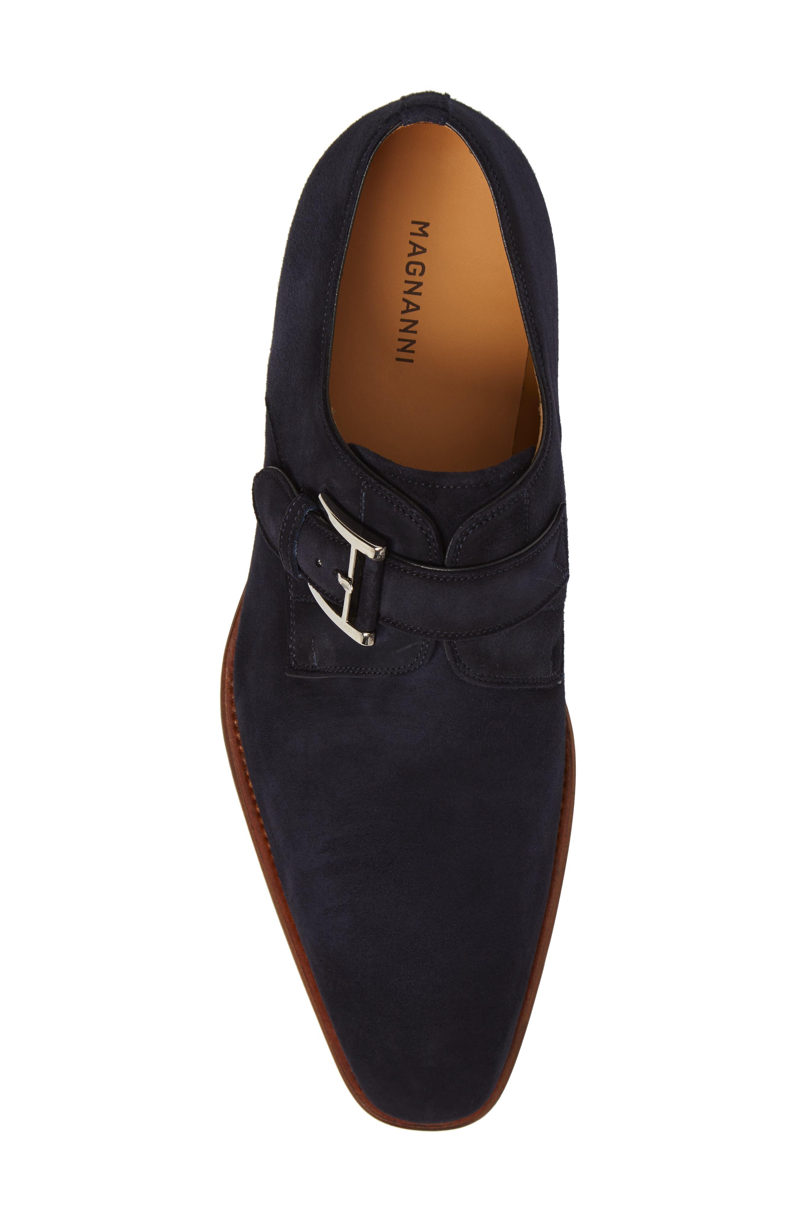 Enrique Monk Strap Shoe,                             Alternate thumbnail 5, color,                             Navy Suede