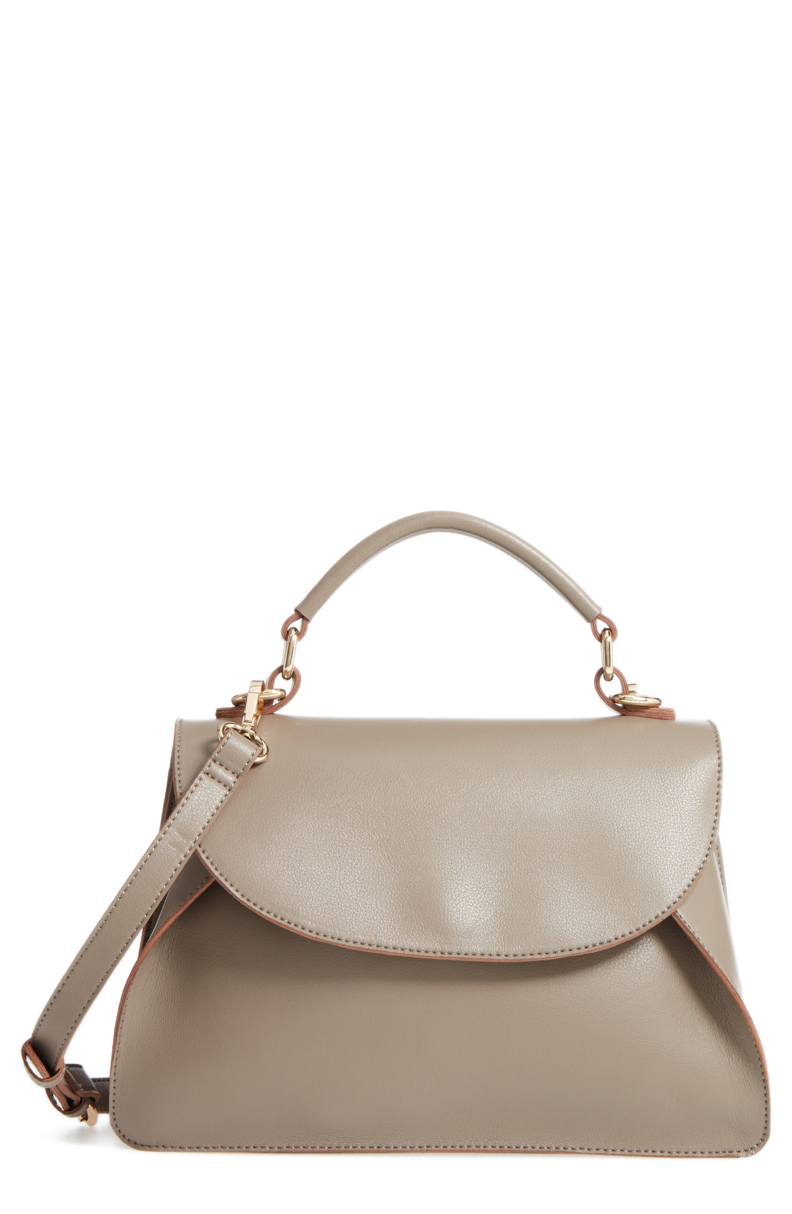 Izzy Faux Leather Top Handle Satchel,                         Main,                         color, Taupe