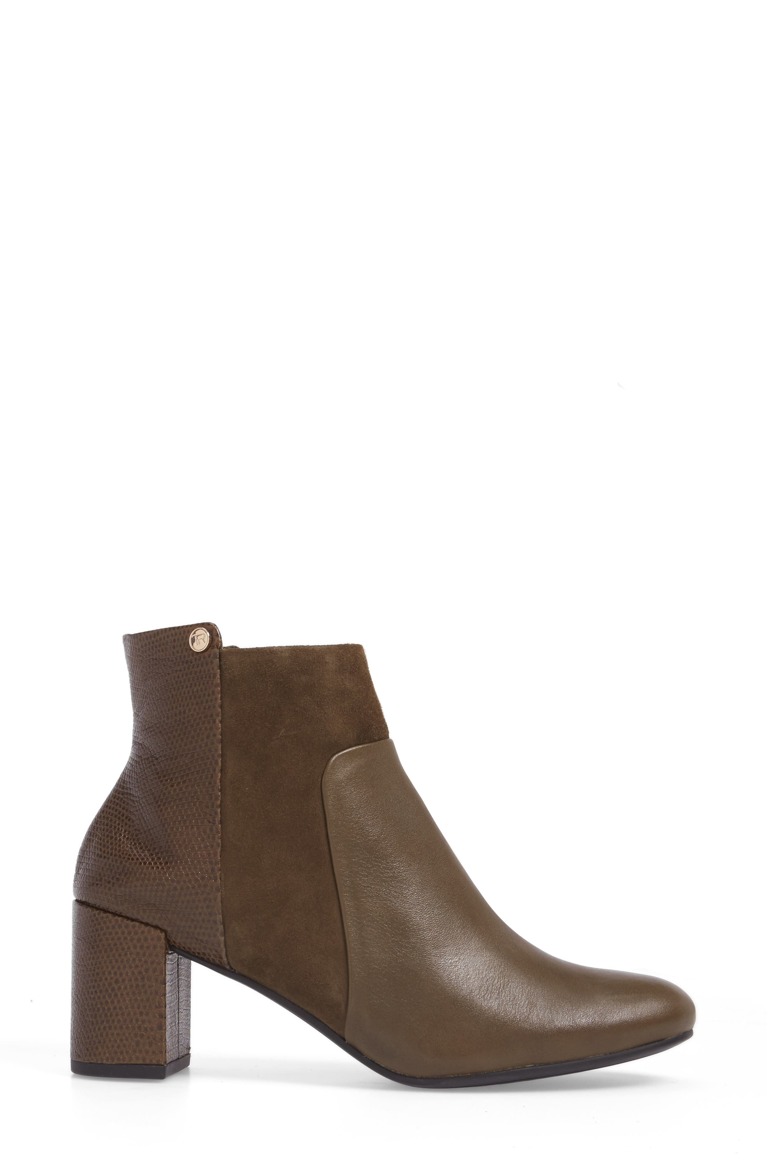 Camille Block Heel Bootie,                             Alternate thumbnail 3, color,                             Olive Leather