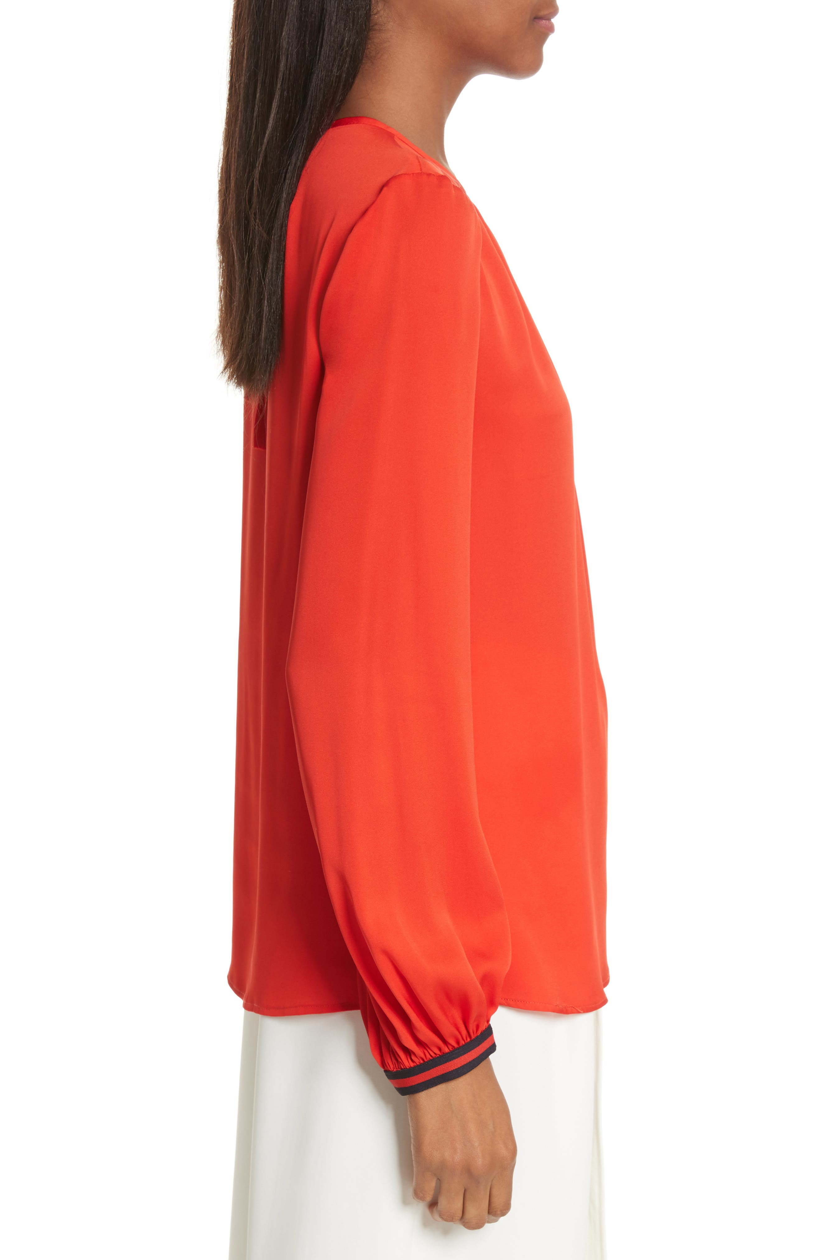 Mandy Stretch Silk Top,                             Alternate thumbnail 3, color,                             Poppy
