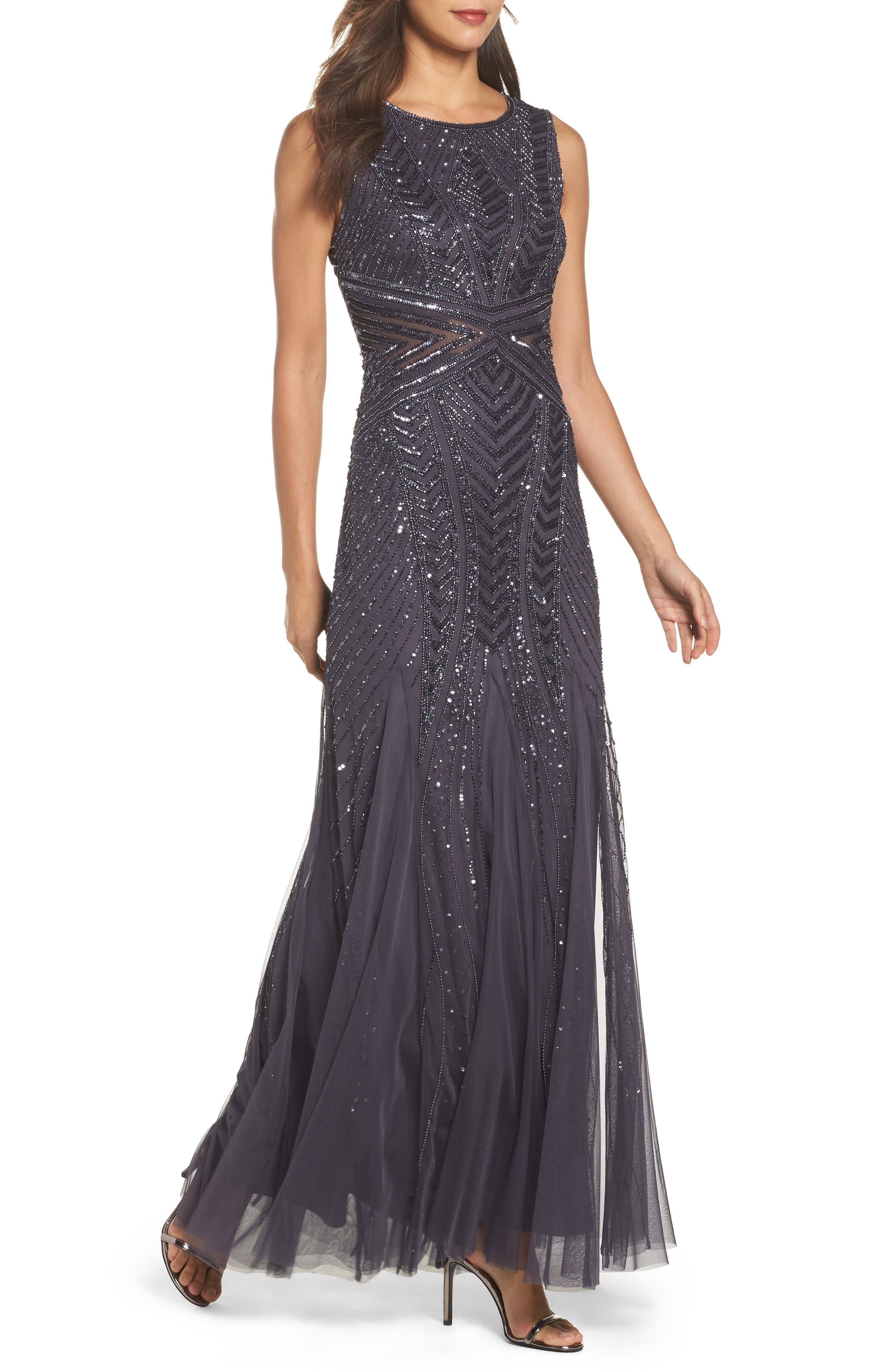 Beaded Sleeveless Gown,                         Main,                         color, Gunmetal