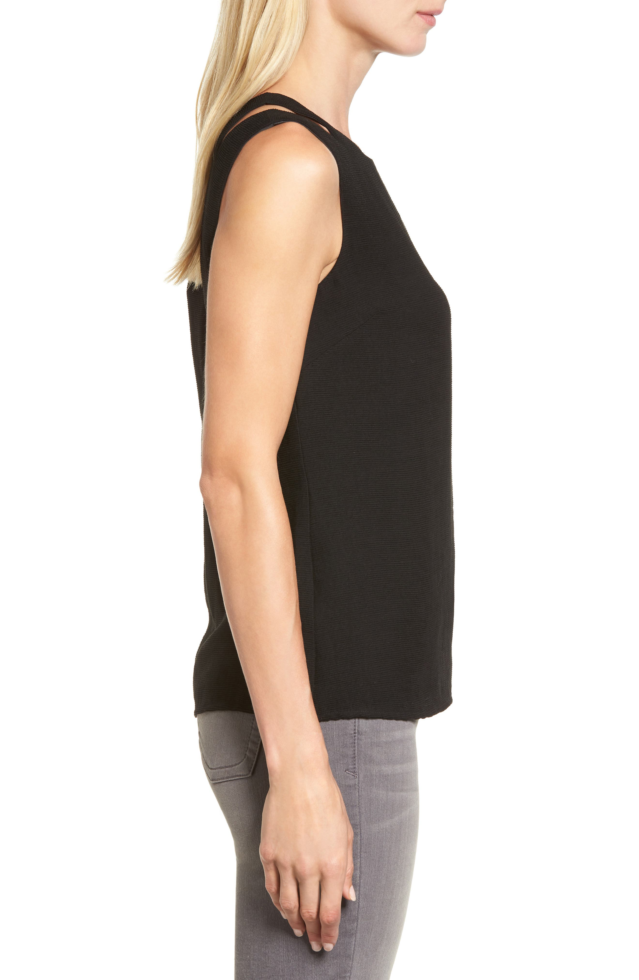 Tiered Texture Tank,                             Alternate thumbnail 3, color,                             Black Onyx