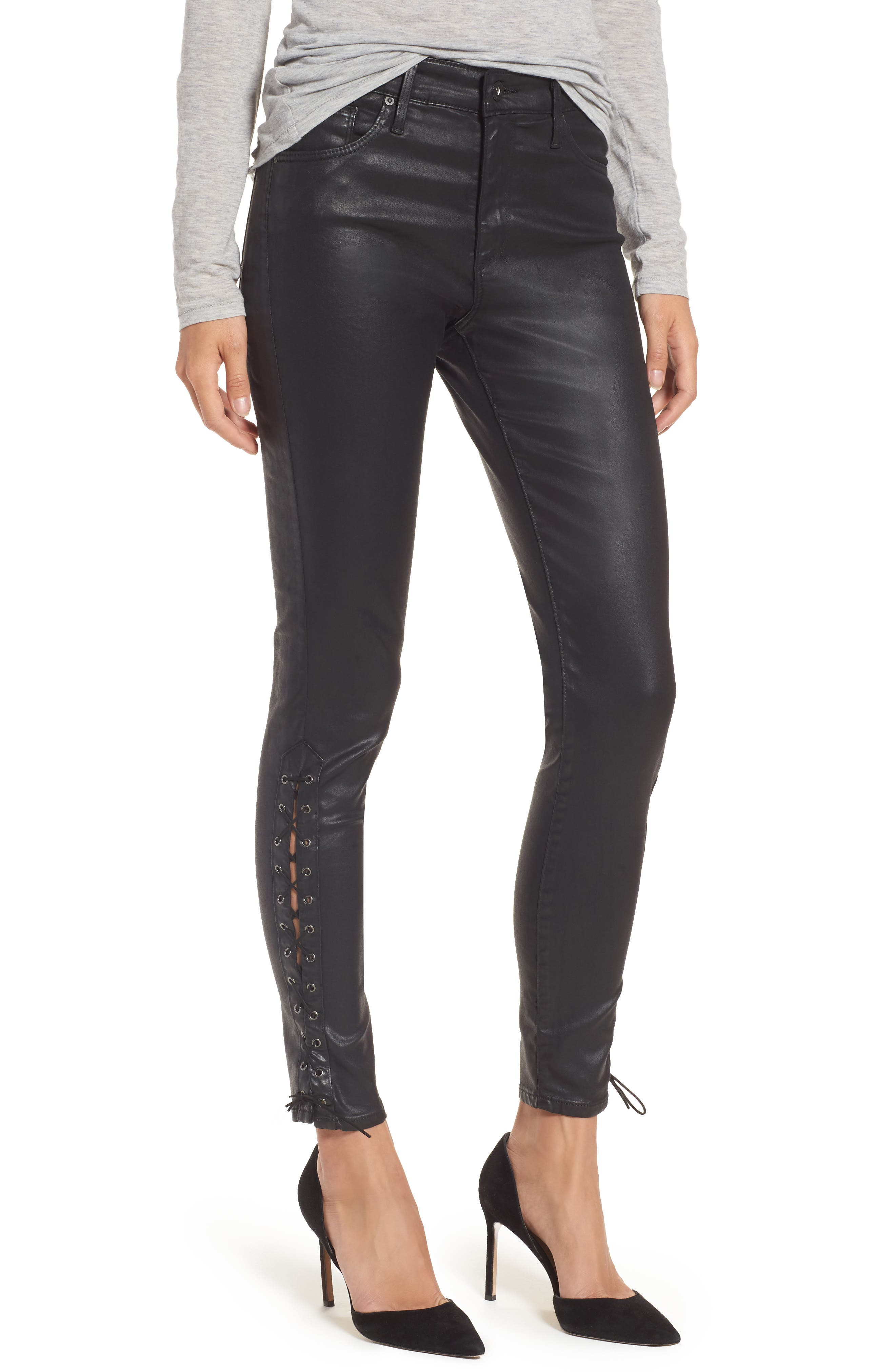 AG The Farrah High Waist Ankle Skinny Faux Leather Pants