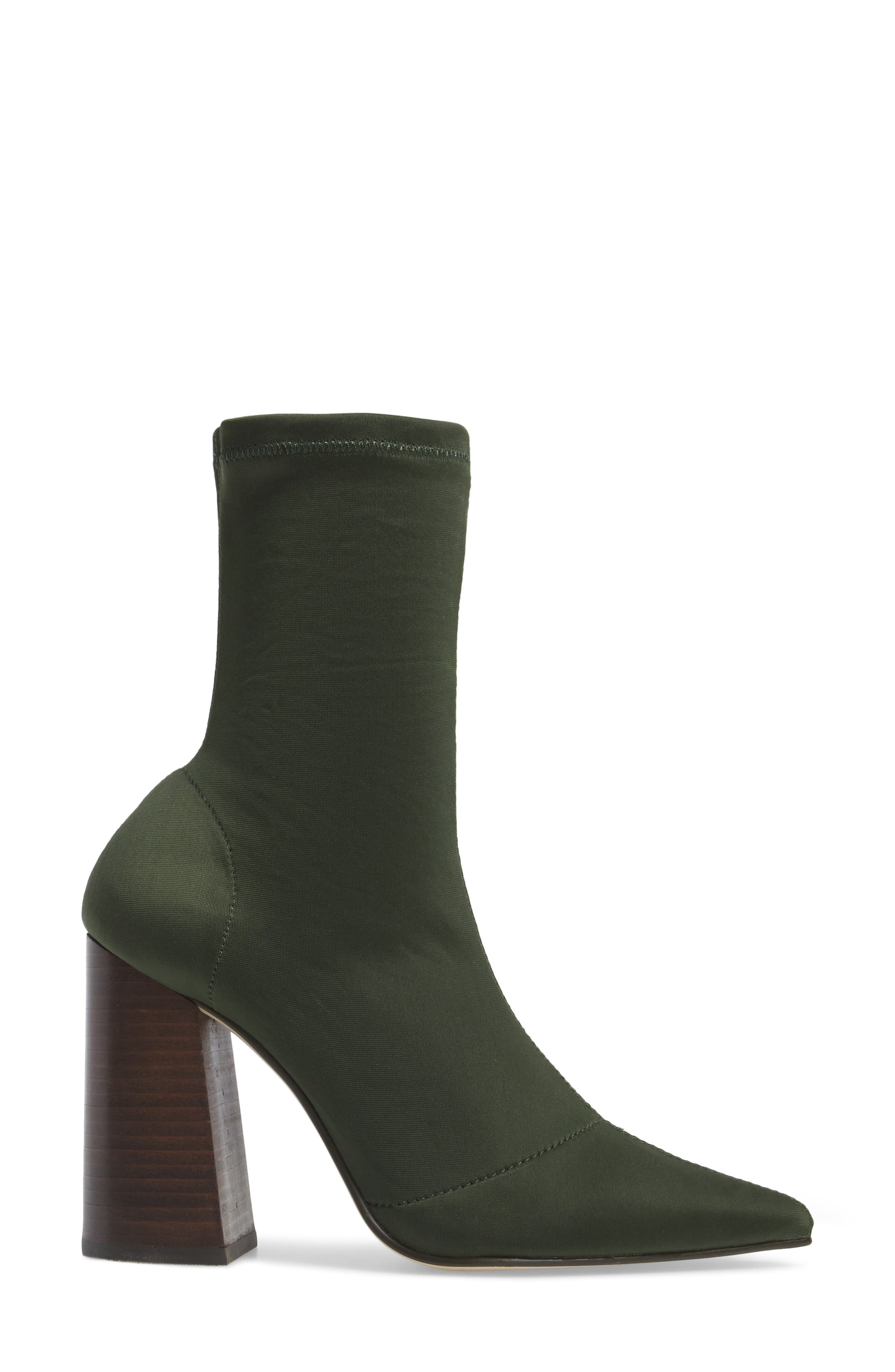 Lombard Pointy Toe Sock Bootie,                             Alternate thumbnail 4, color,                             Olive