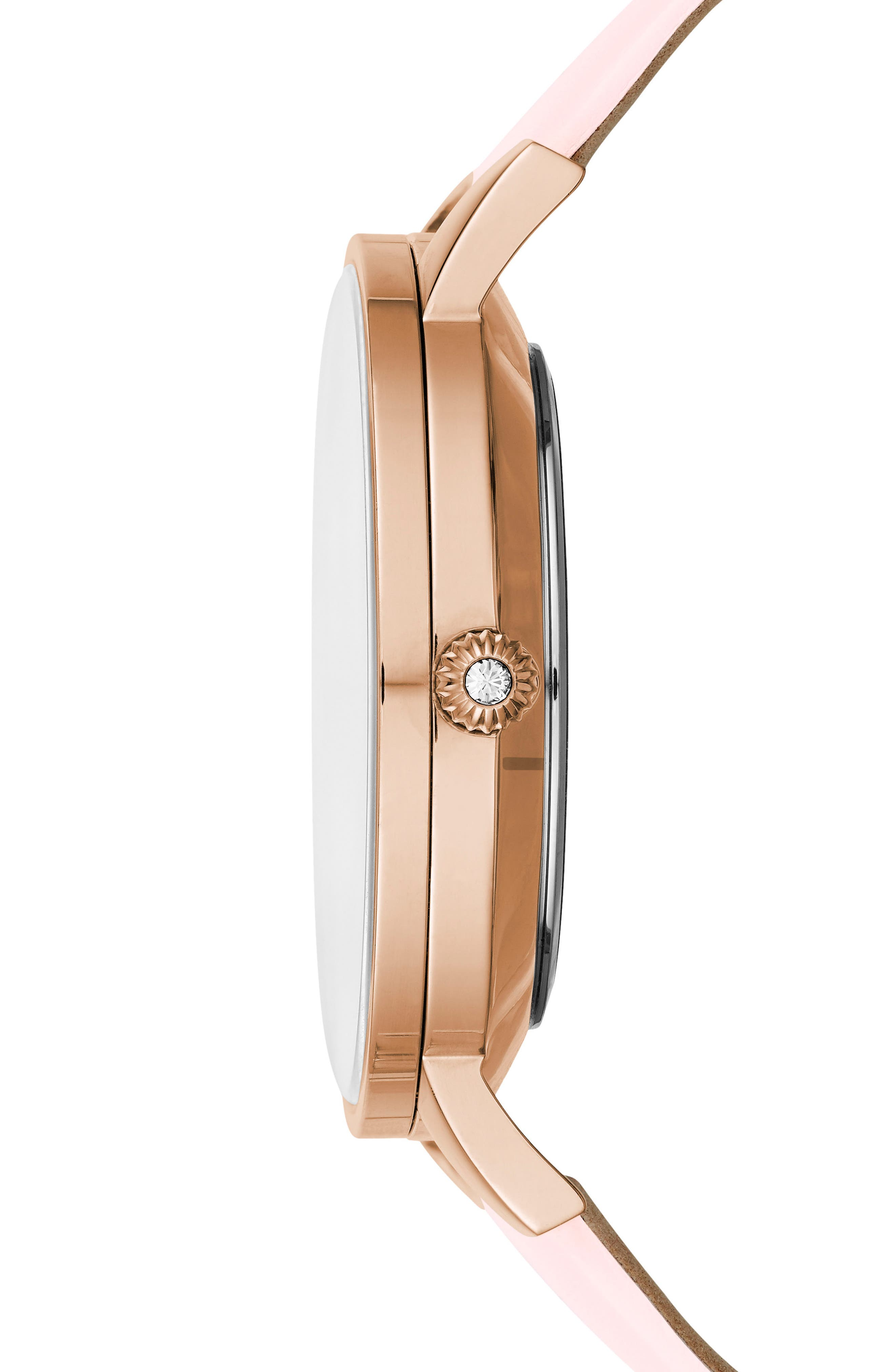 Kate Leather Strap Watch, 38mm,                             Alternate thumbnail 3, color,                             Pink/ Mop/ Rose Gold