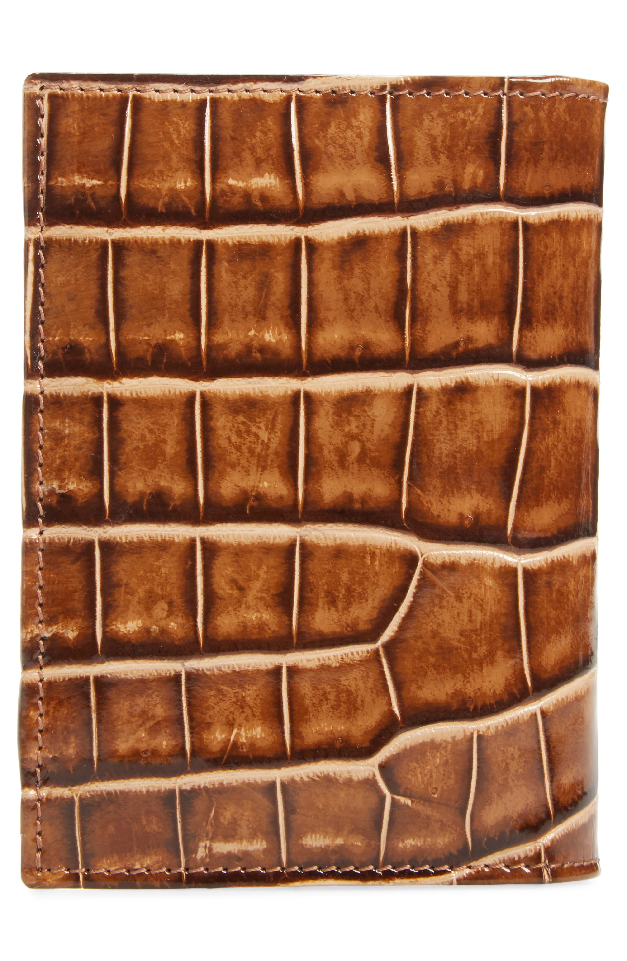 Alligator Leather Trifold Wallet,                             Alternate thumbnail 3, color,                             Honey/ Beige