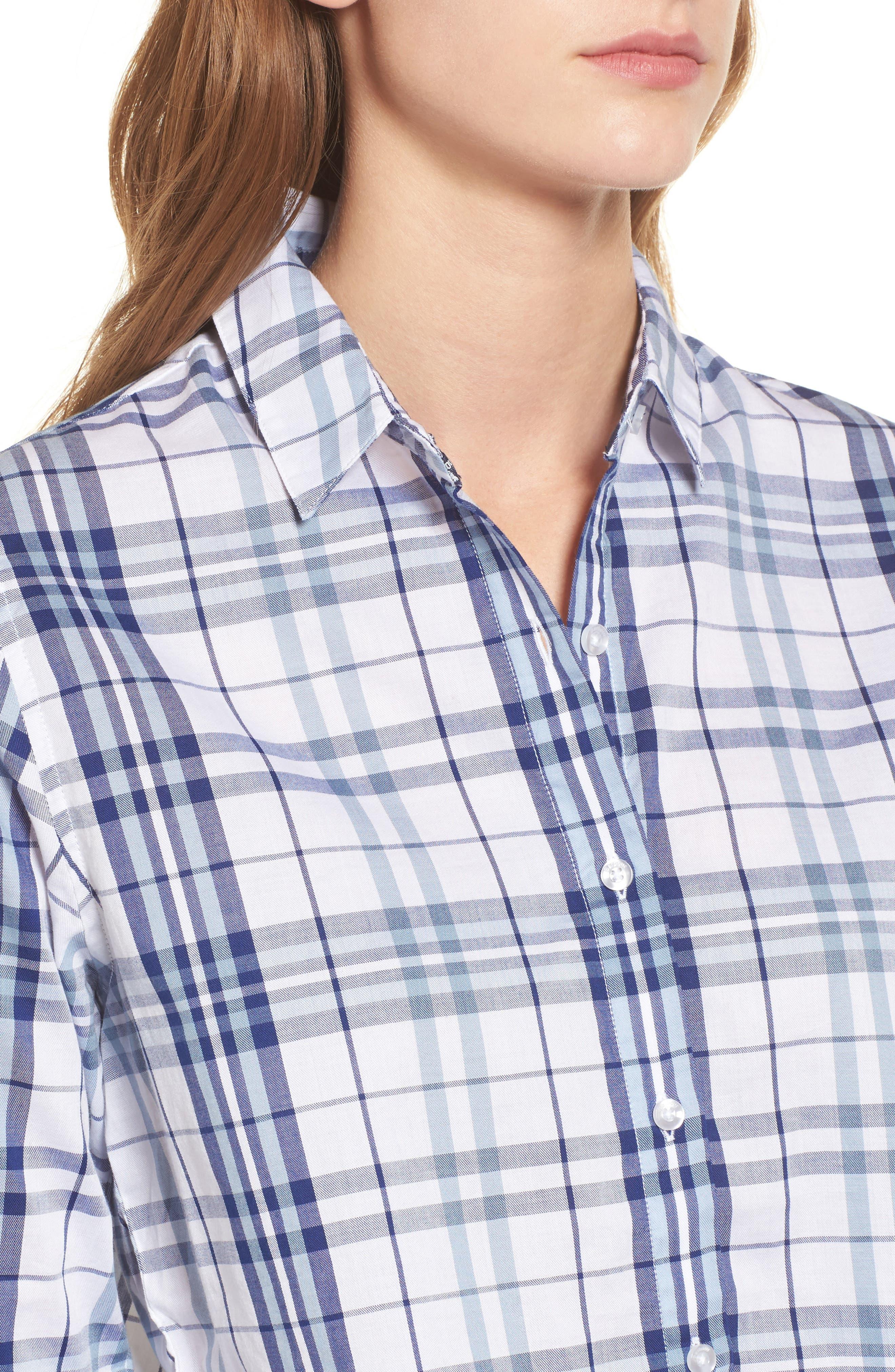 Selsey Plaid Shirt,                             Alternate thumbnail 4, color,                             White/ Coastal Blue