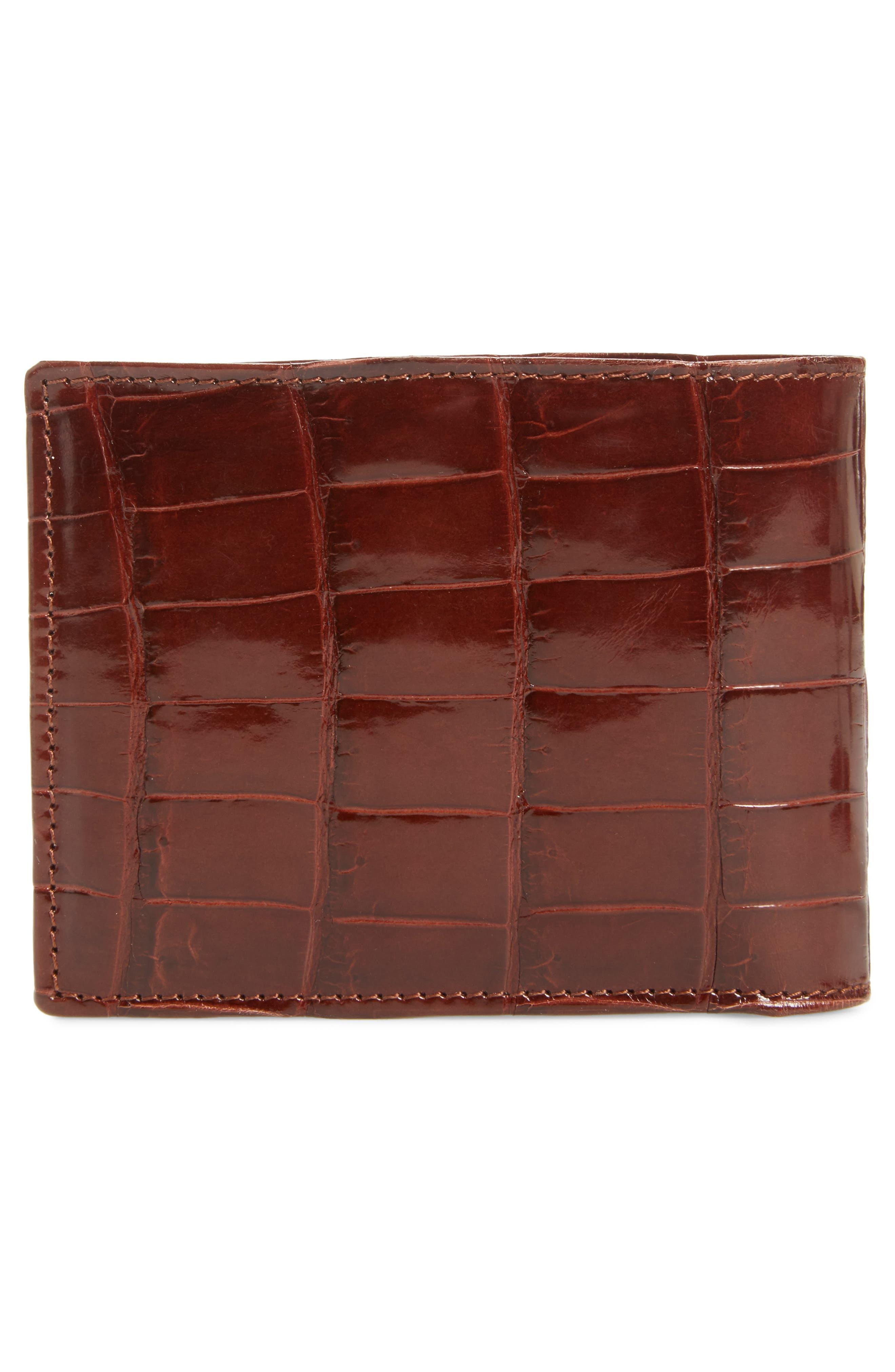 Alligator Leather Bifold Wallet,                             Alternate thumbnail 3, color,                             Sport