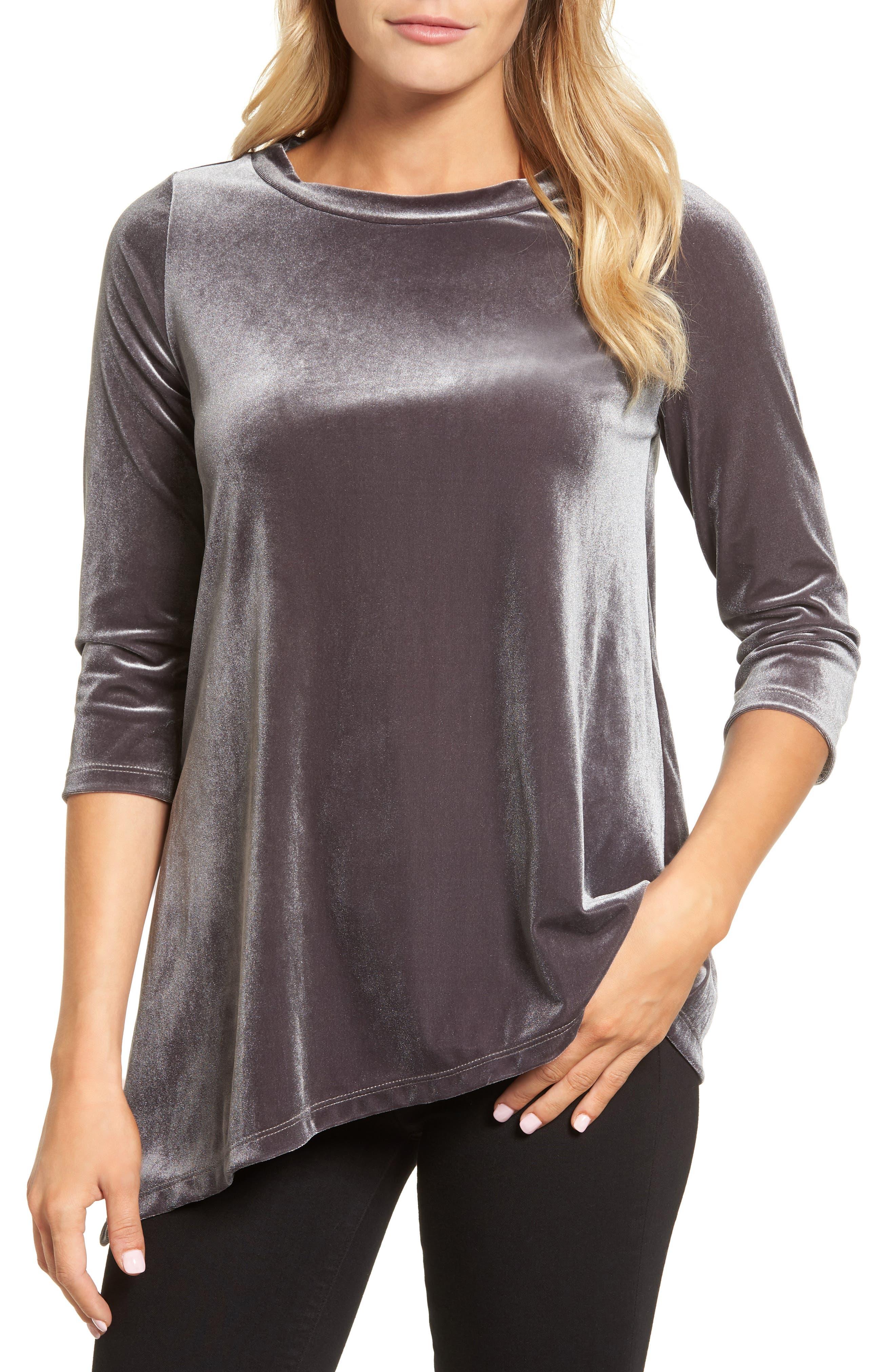 Halogen® Asymmetrical Velvet Tunic