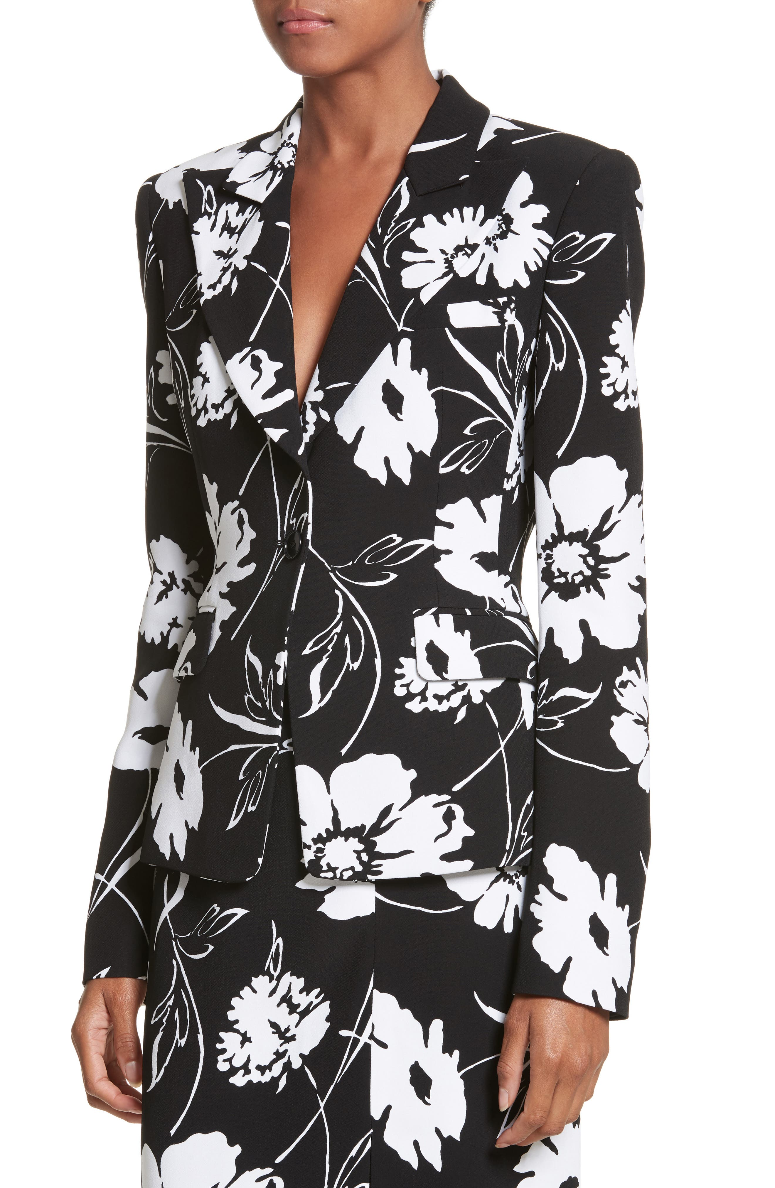 Floral Print Blazer,                             Alternate thumbnail 3, color,                             Black / White