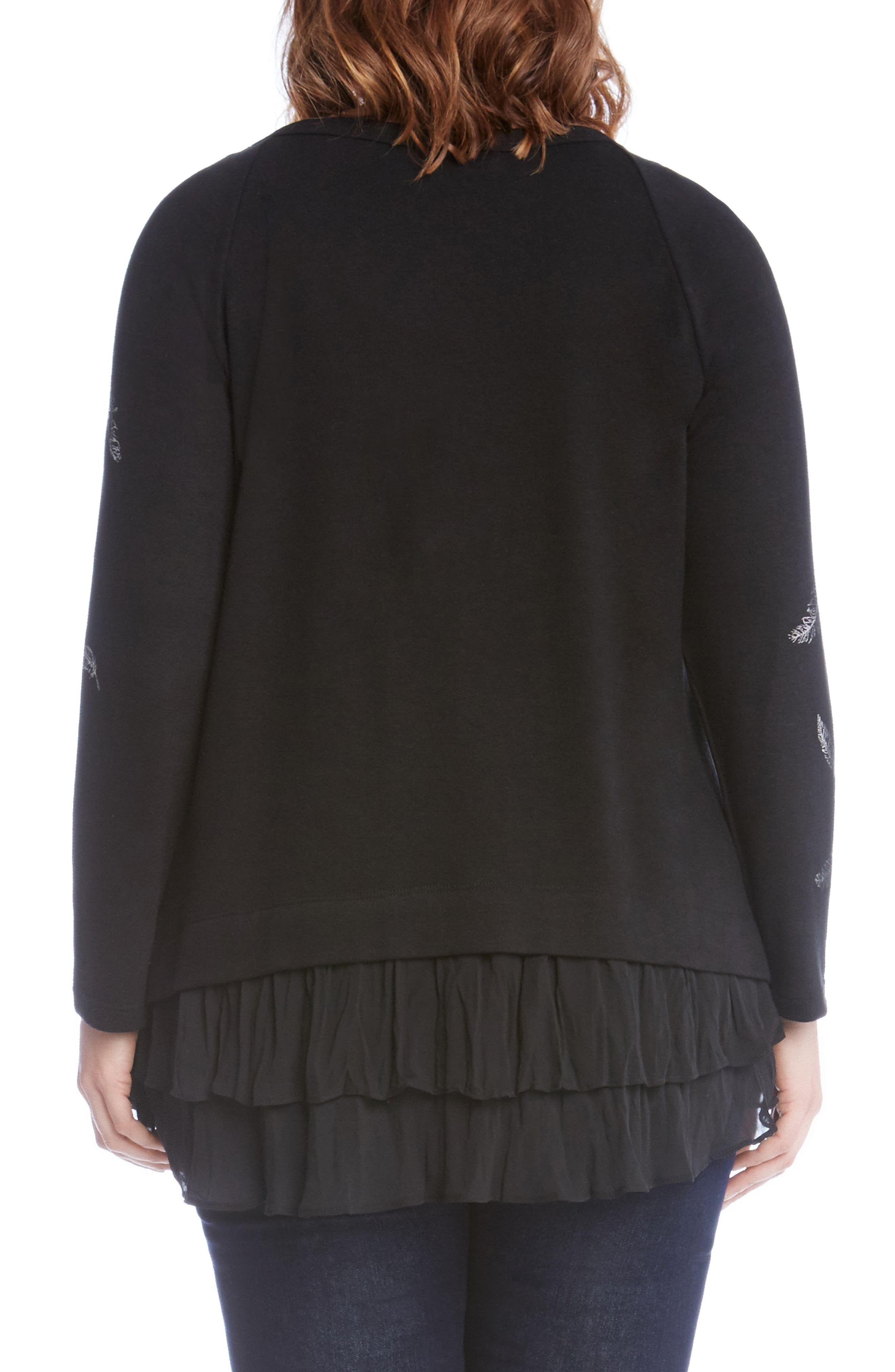 Alternate Image 3  - Karen Kane Feather Print Ruffle Hem Sweater (Plus Size)