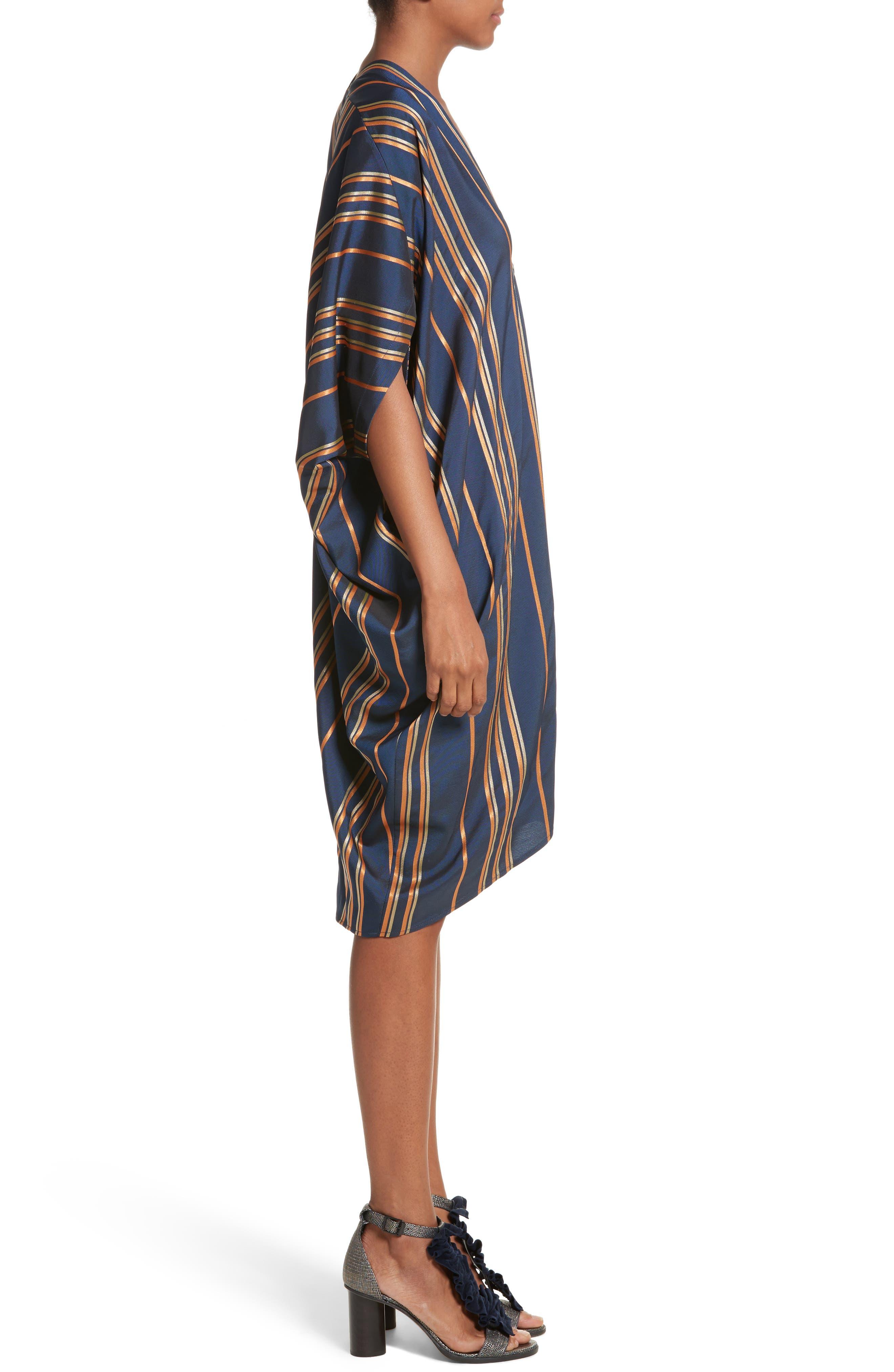 Stripe Dress,                             Alternate thumbnail 3, color,                             Mykonos/Papaya