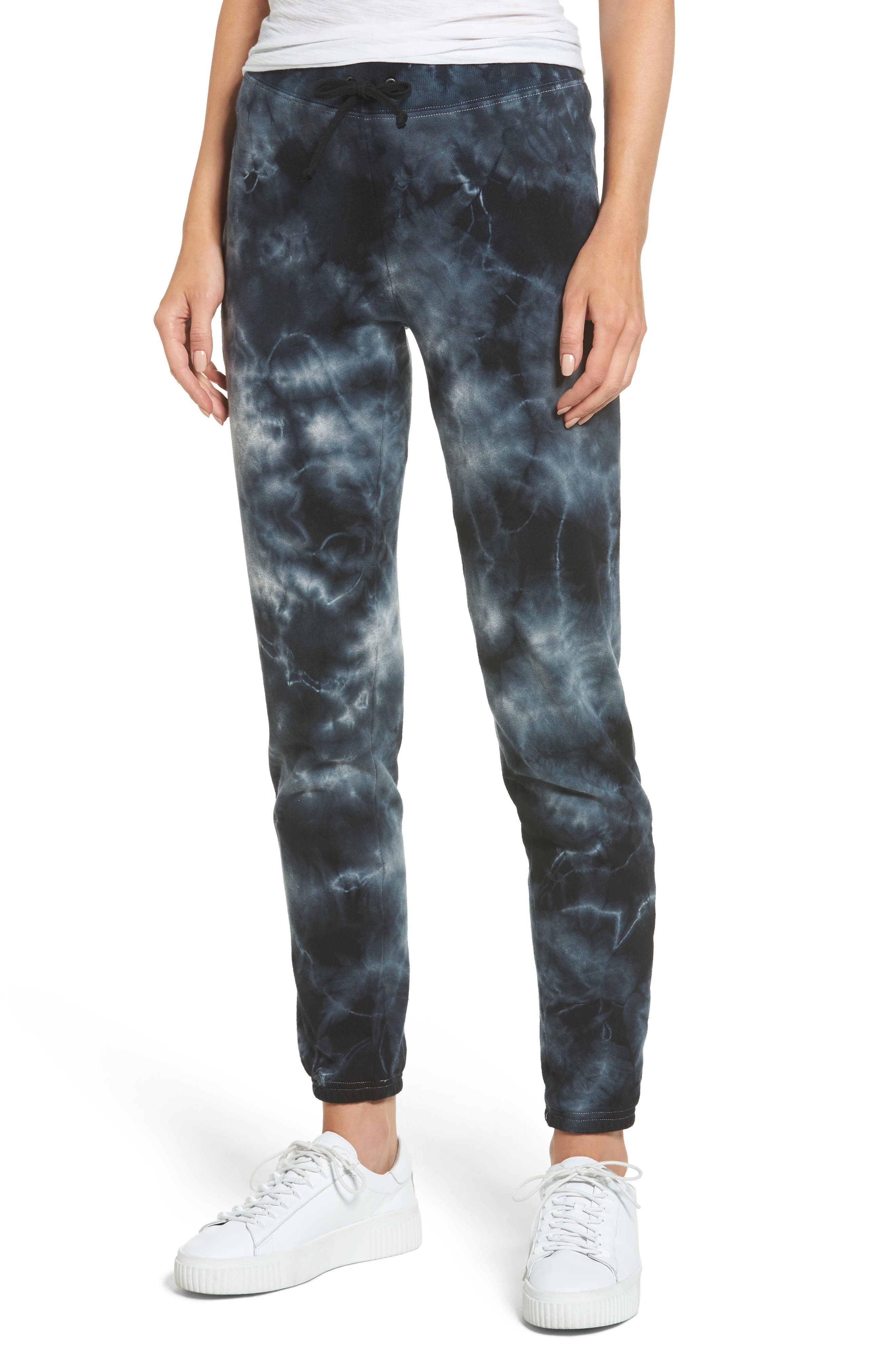 Tie Dye Knit Pants,                             Main thumbnail 1, color,                             Black/ Heather Grey Tie Dye
