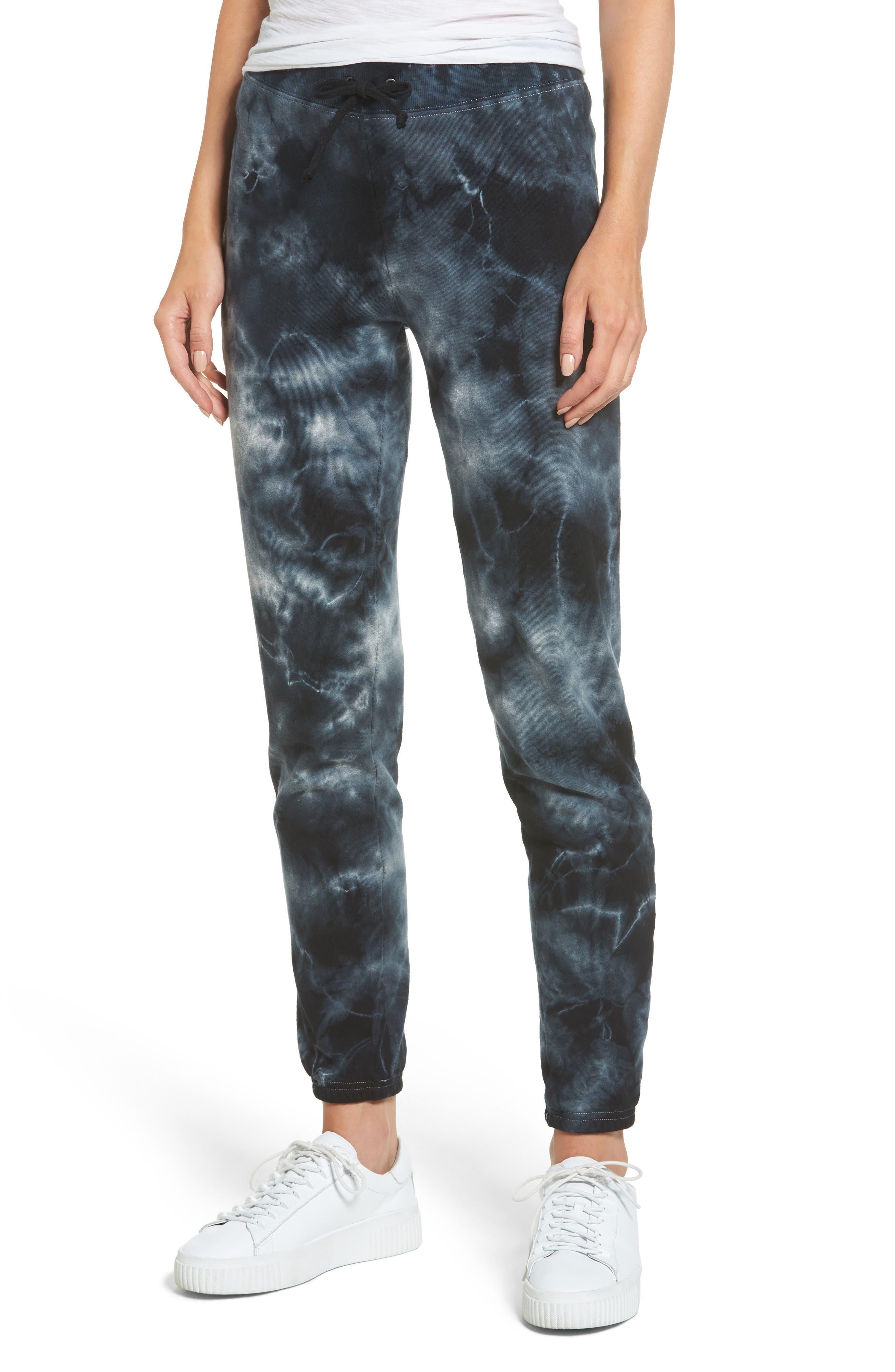 Tie Dye Knit Pants,                         Main,                         color, Black/ Heather Grey Tie Dye