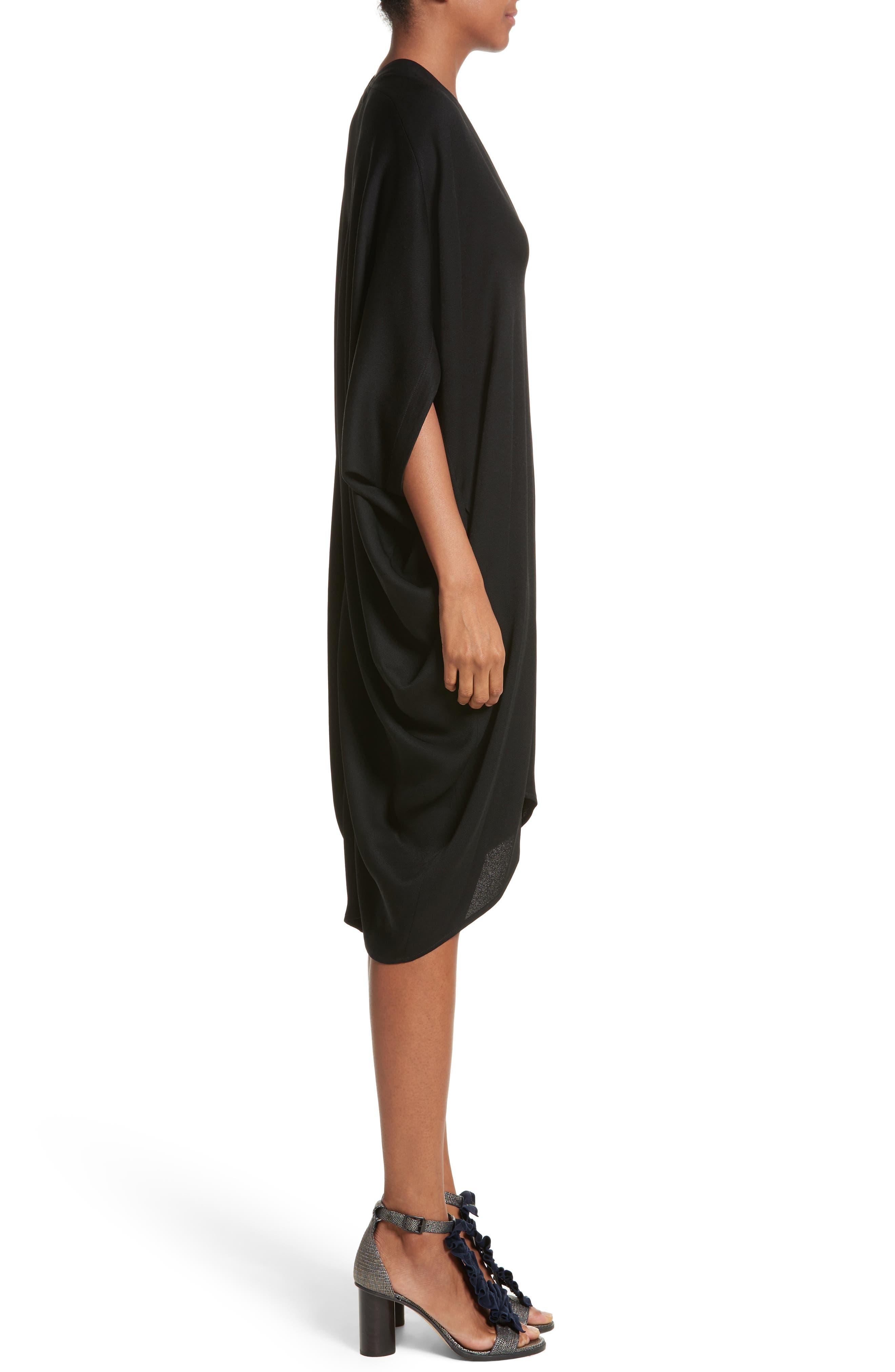 Eco Drape Dress,                             Alternate thumbnail 3, color,                             Black