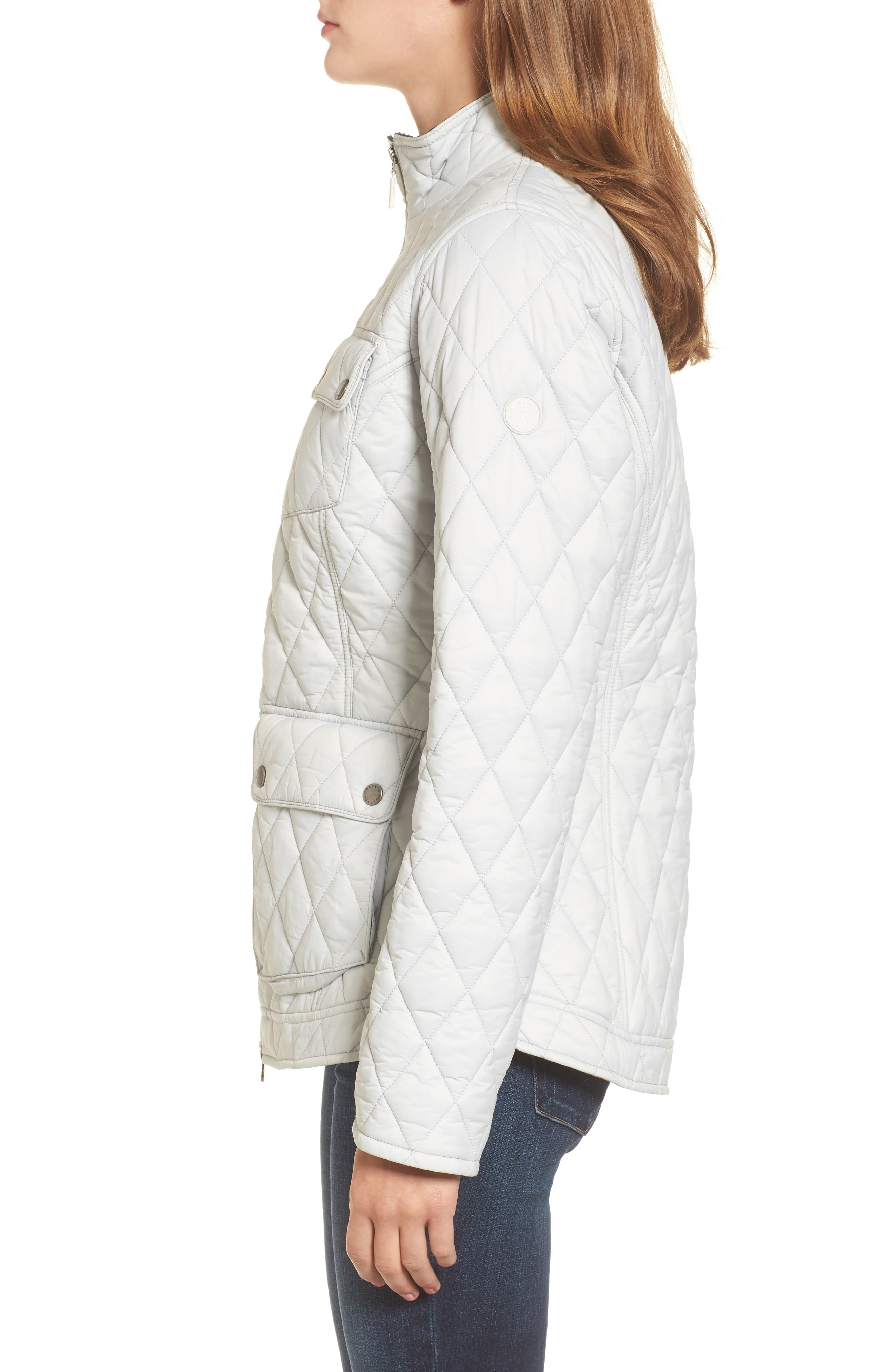 Dolostone Quilted Jacket,                             Alternate thumbnail 3, color,                             Ice White