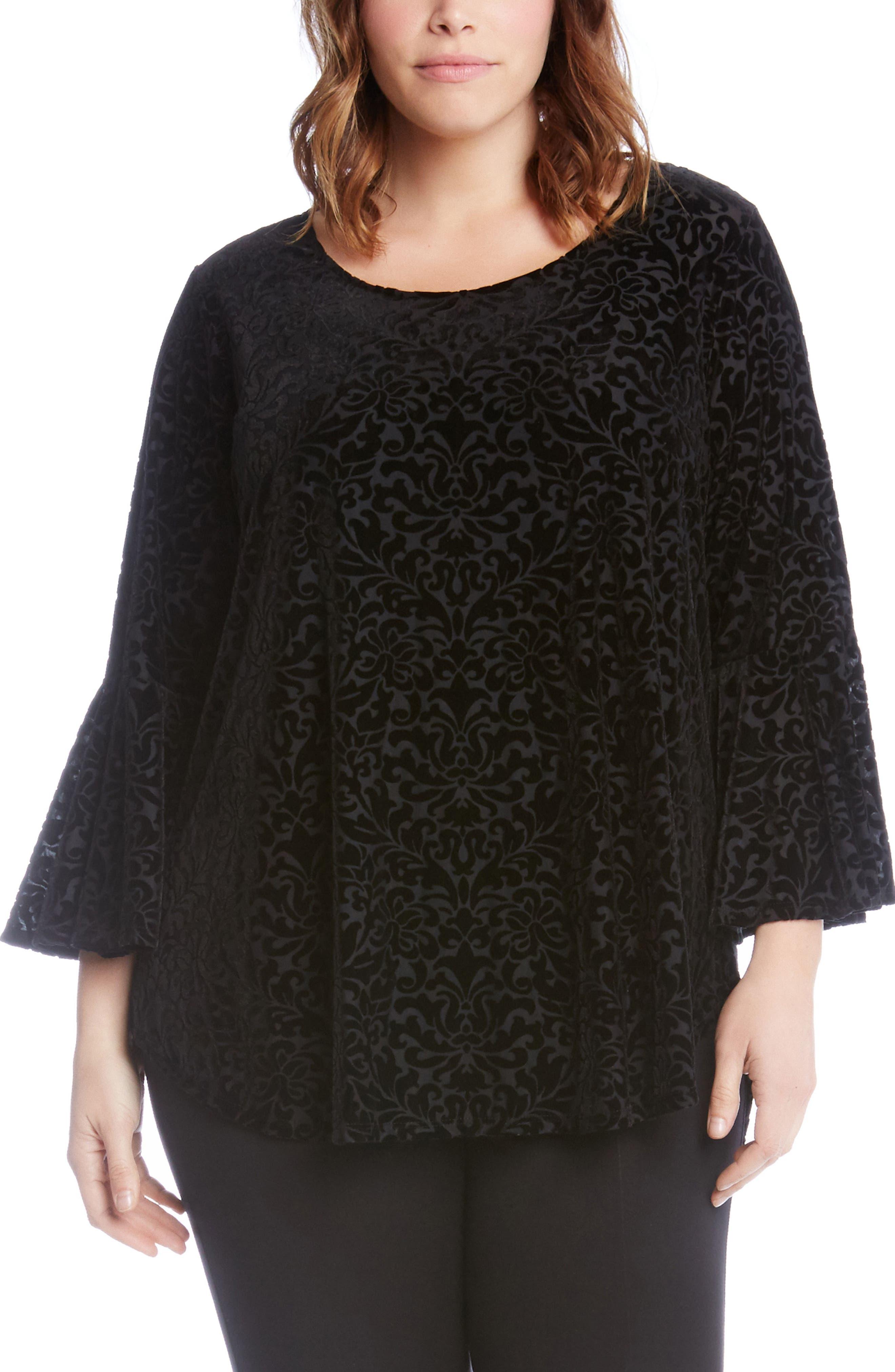 Karen Kane Velvet Burnout Bell Sleeve Top (Plus Size)