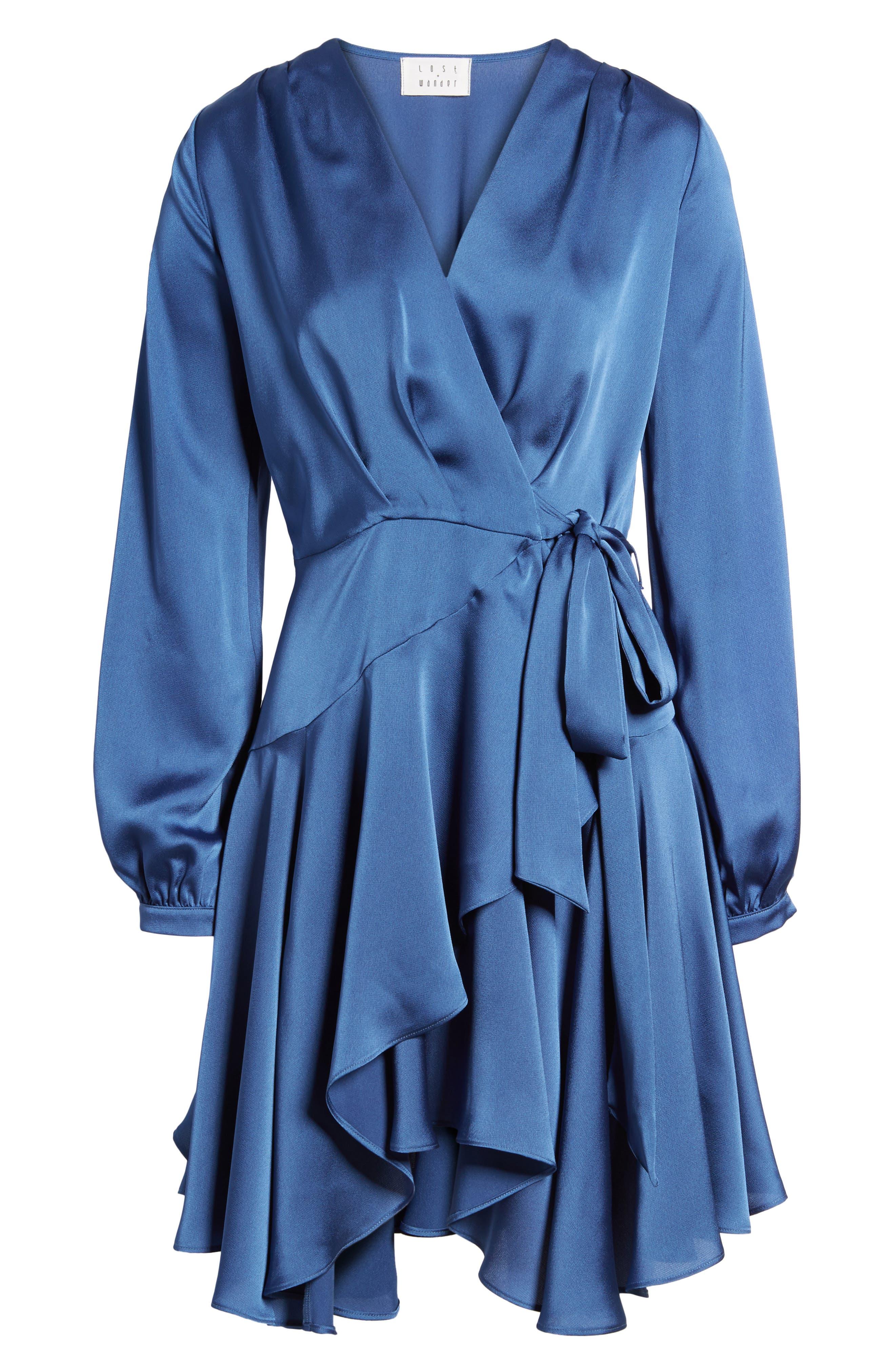 Elsa Satin Ruffle Wrap Minidress,                             Alternate thumbnail 7, color,                             Blue