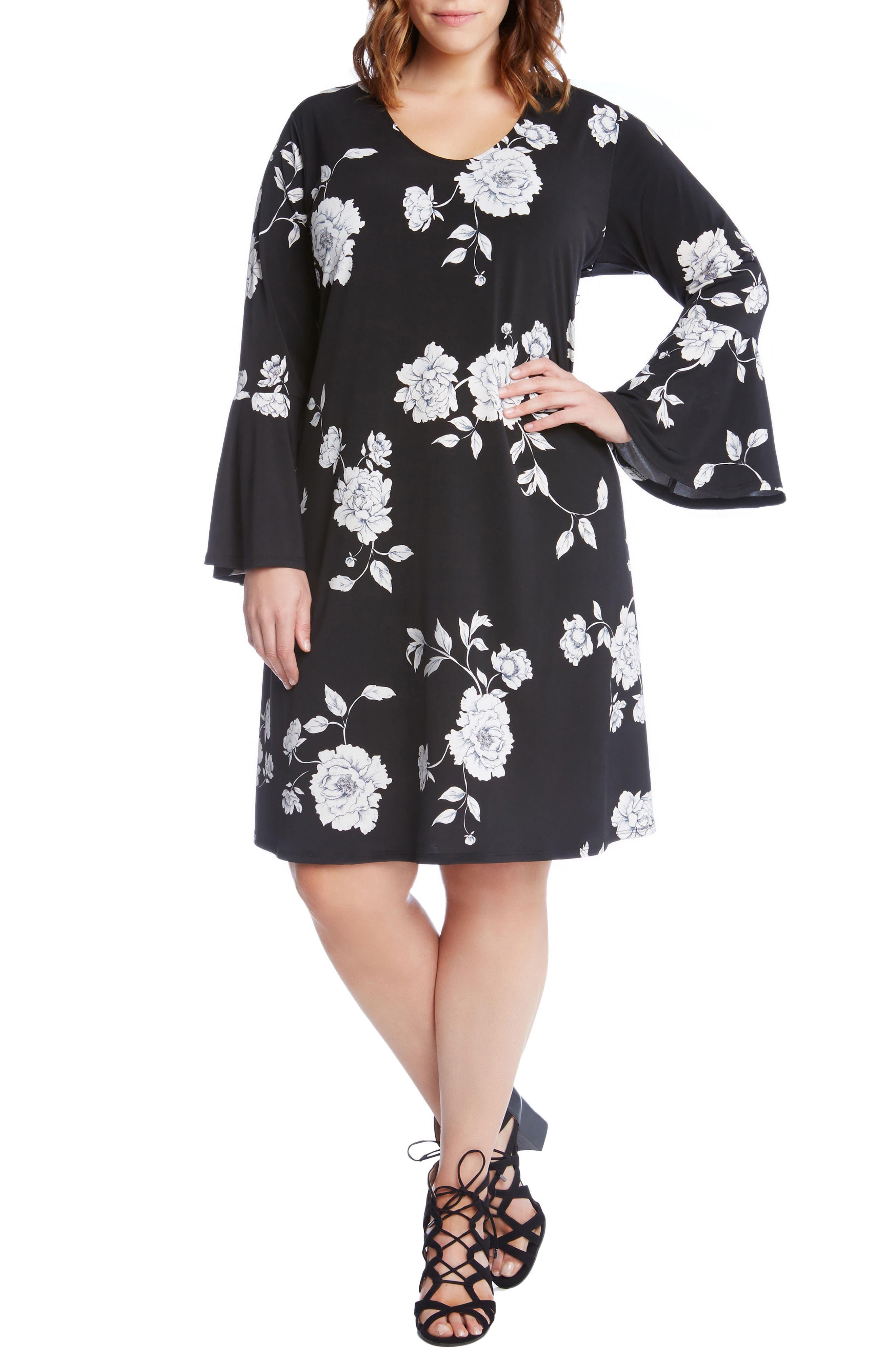 Main Image - Karen Kane Taylor Flare Sleeve Swing Dress (Plus Size)