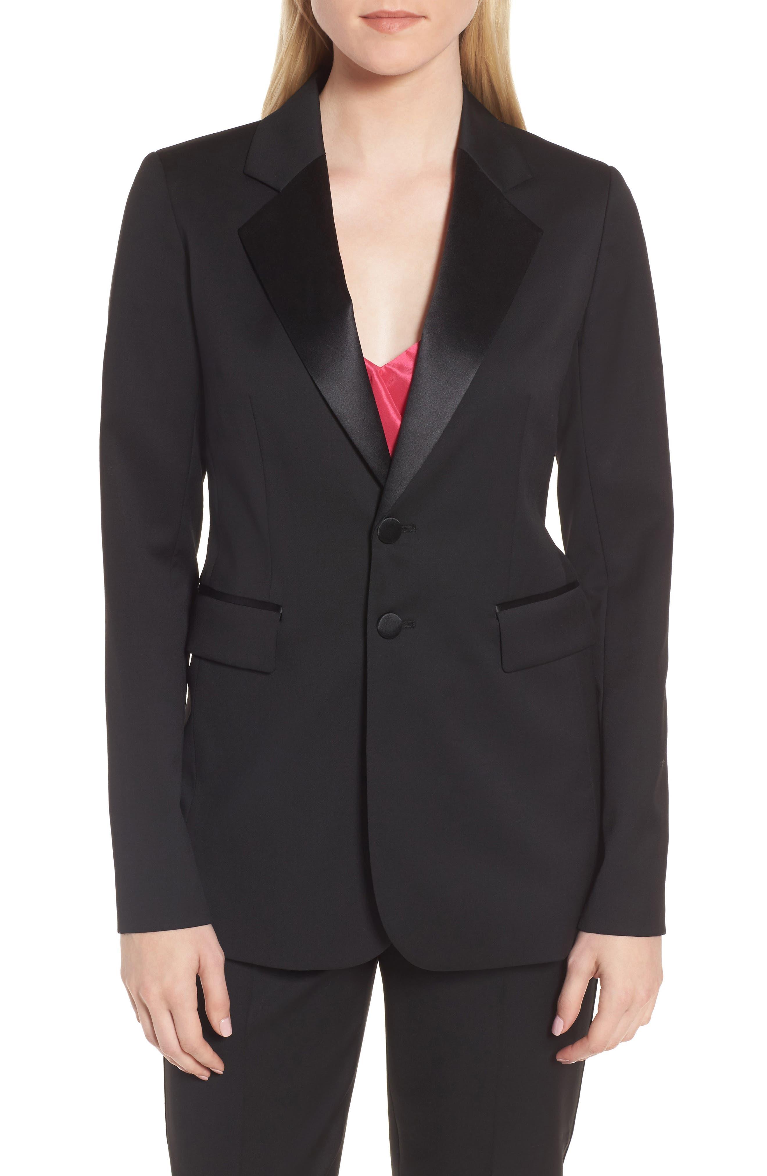 Tuxedo Detail Wool Suit Jacket,                             Main thumbnail 1, color,                             Black