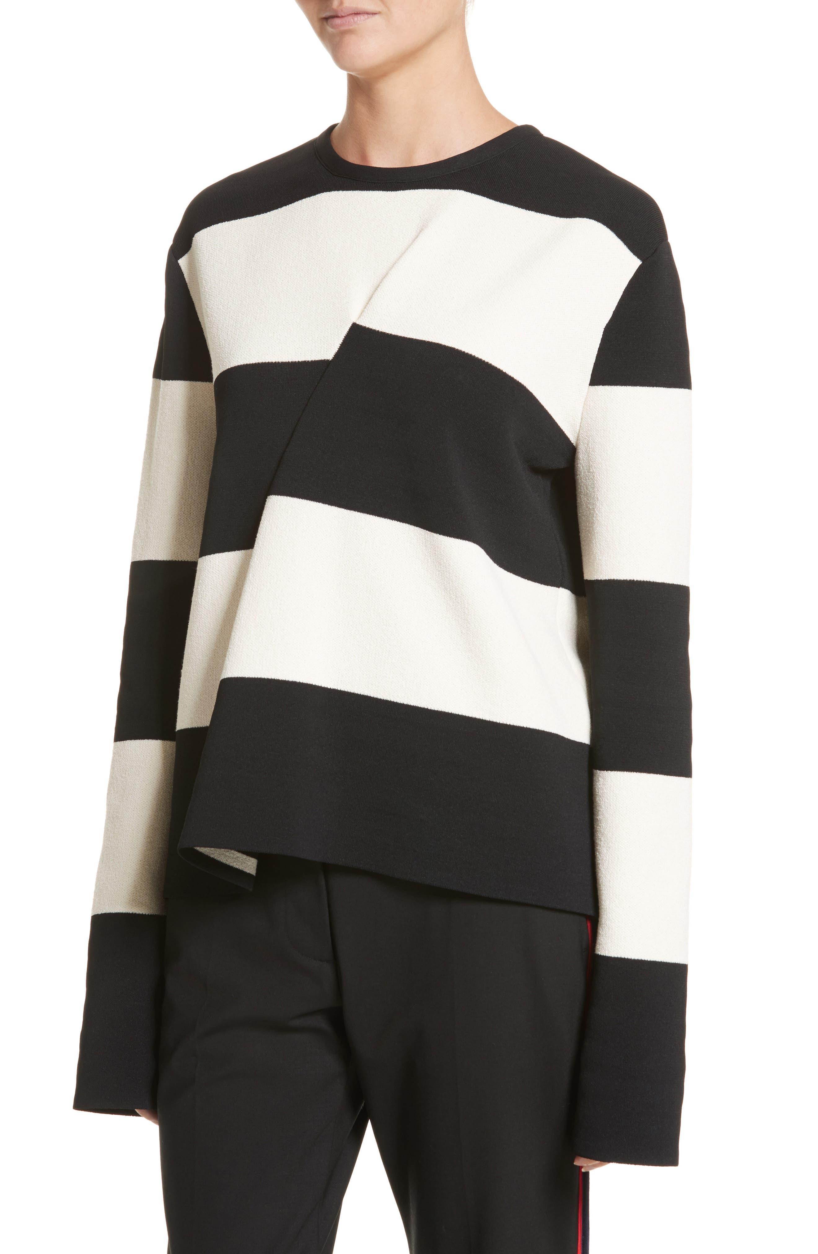 Folded Stripe Sweater,                             Alternate thumbnail 4, color,                             Ivory/ Black