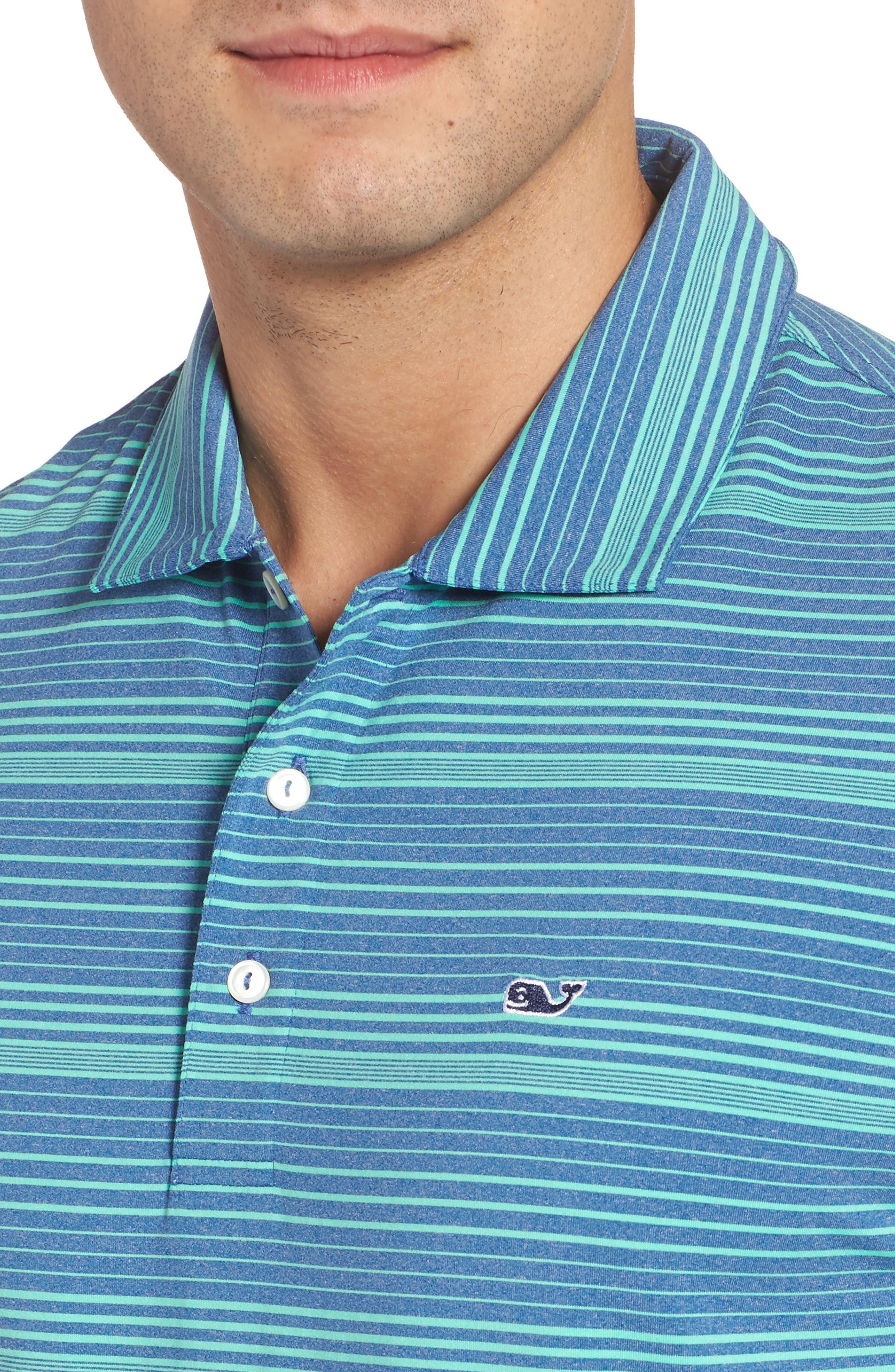Cateonic Stripe Performance Polo,                             Alternate thumbnail 4, color,                             Kingfisher