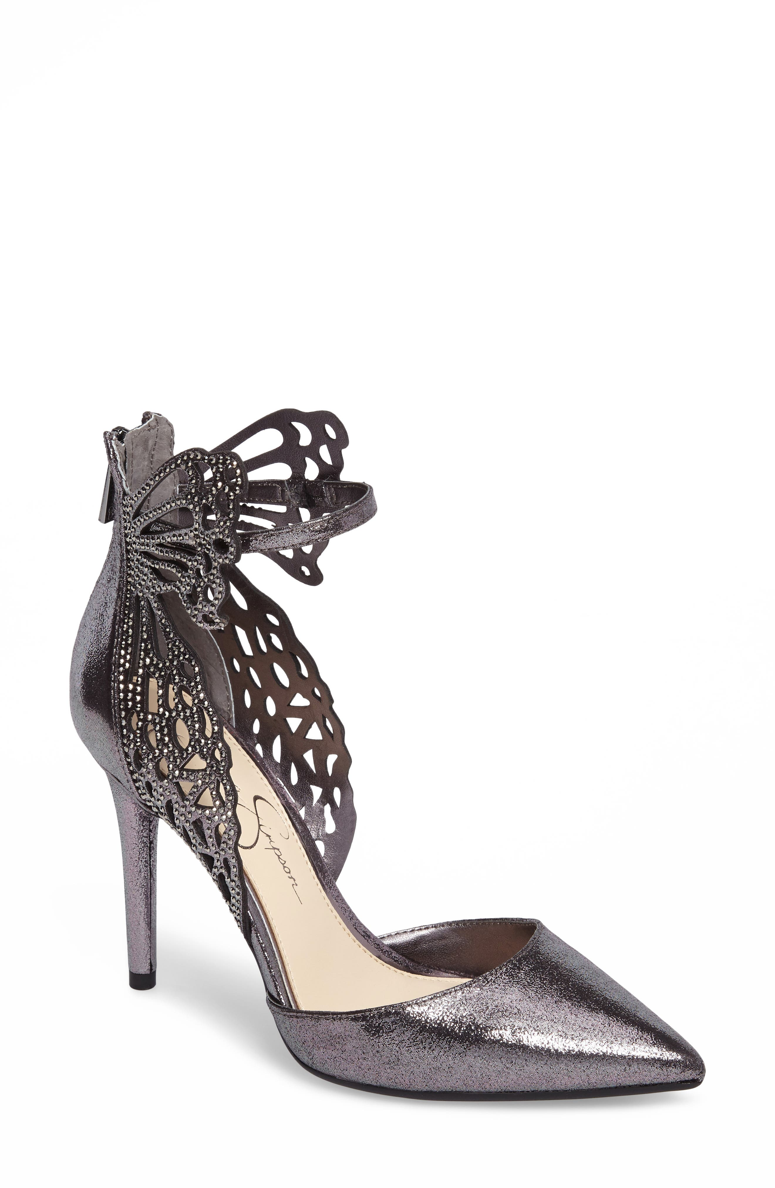 Leasia Butterfly Pump,                         Main,                         color, Pewter Satin