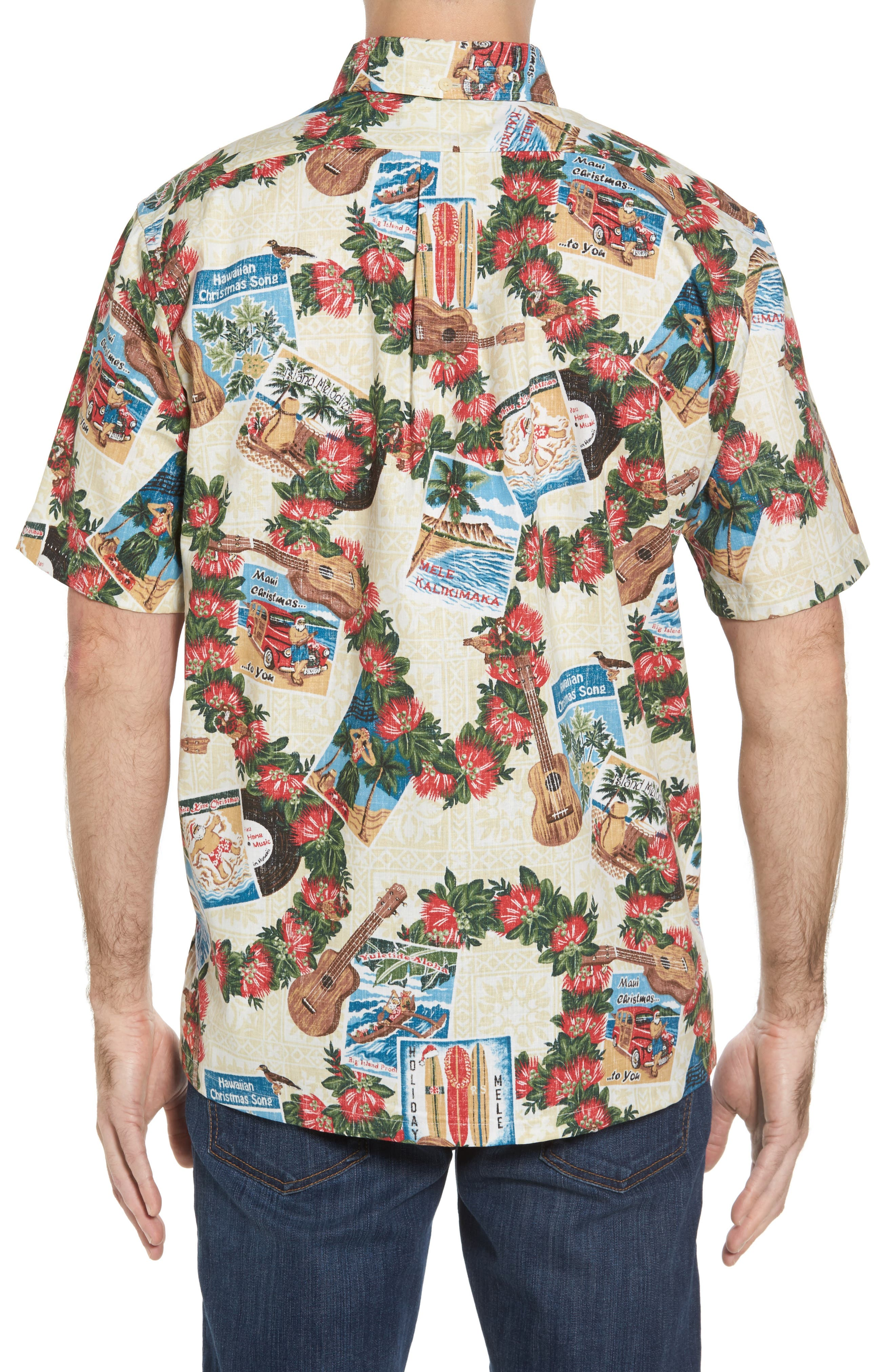 Hawaiian Christmas 2017 Sport Shirt,                             Alternate thumbnail 2, color,                             Natural