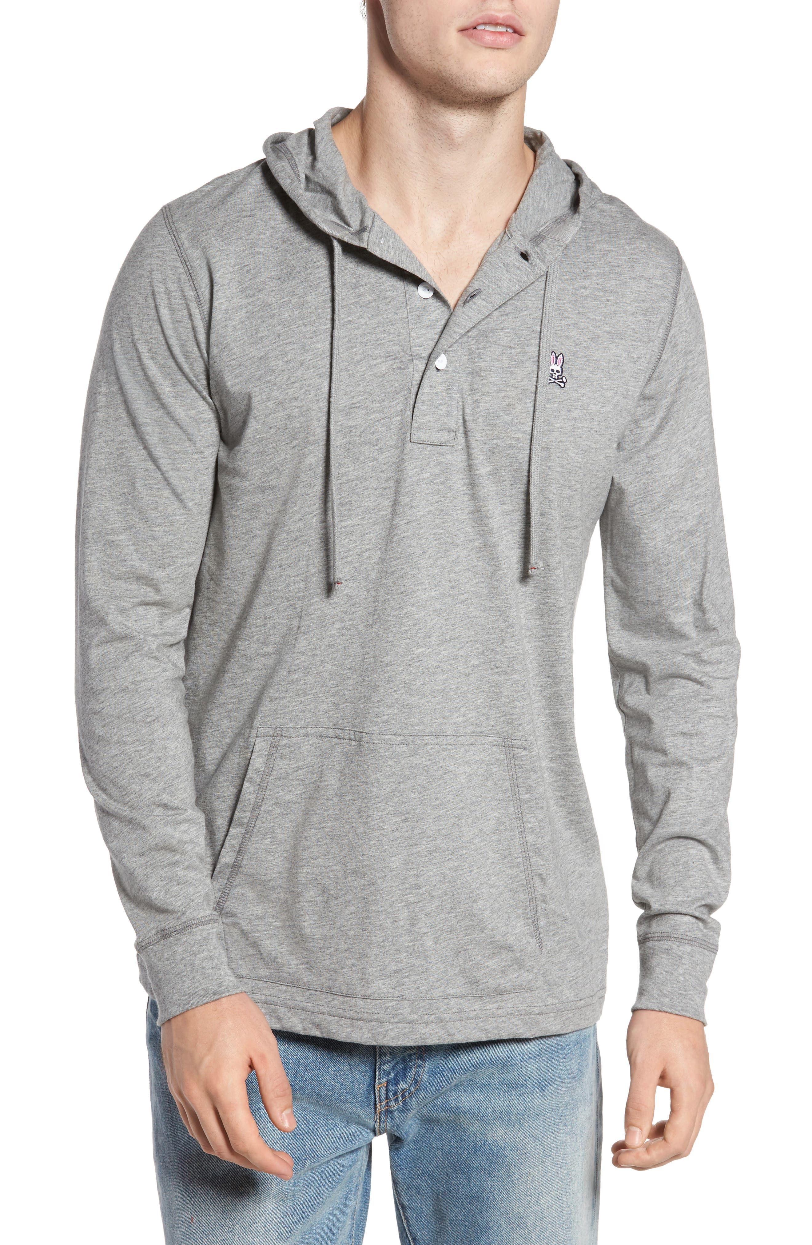 Delano Henley Hoodie,                             Main thumbnail 1, color,                             Heather Grey