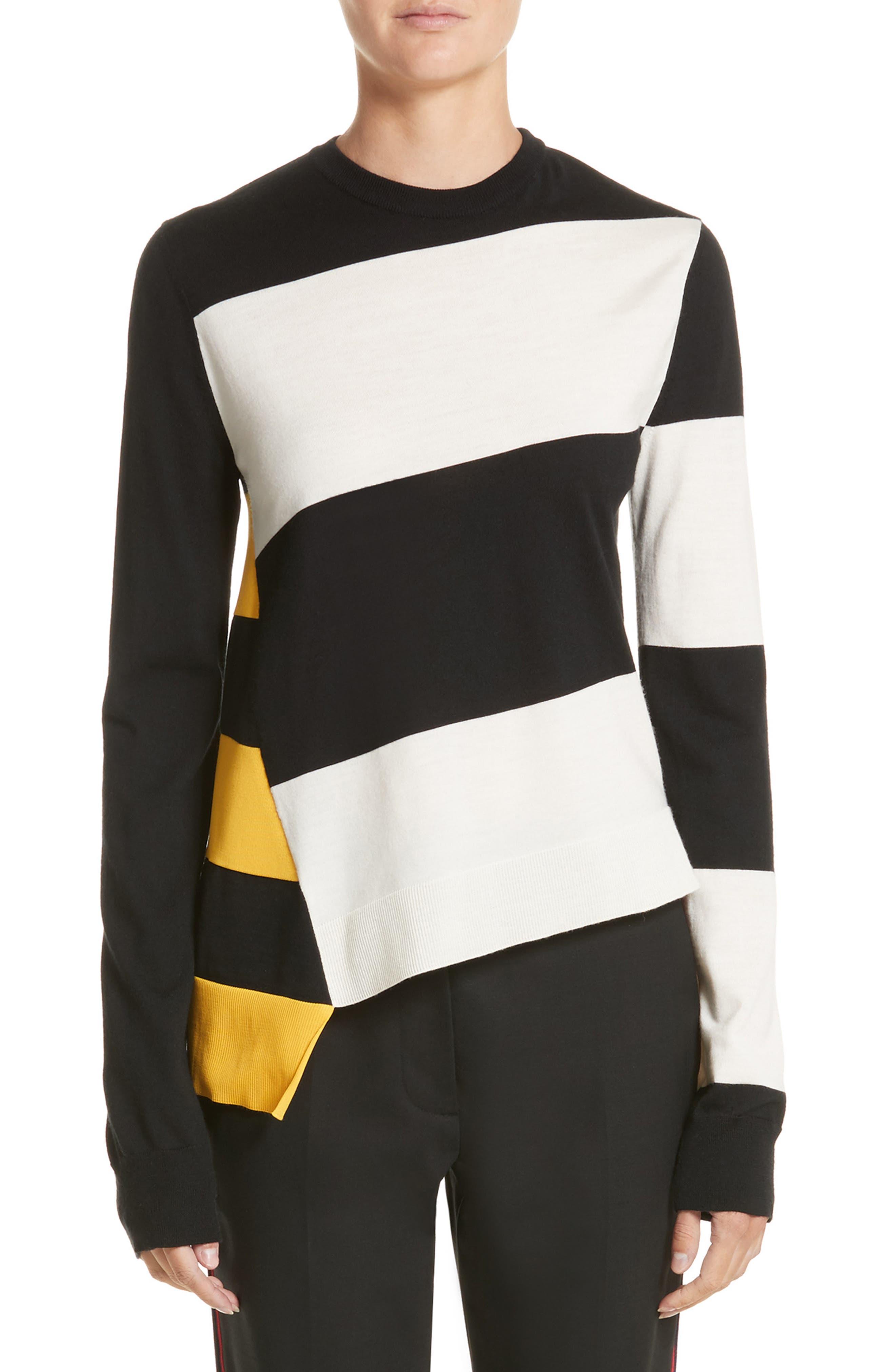 Bicolor Stripe Merino Wool Blend Sweater,                             Main thumbnail 1, color,                             Black/ Off White/ Yellow