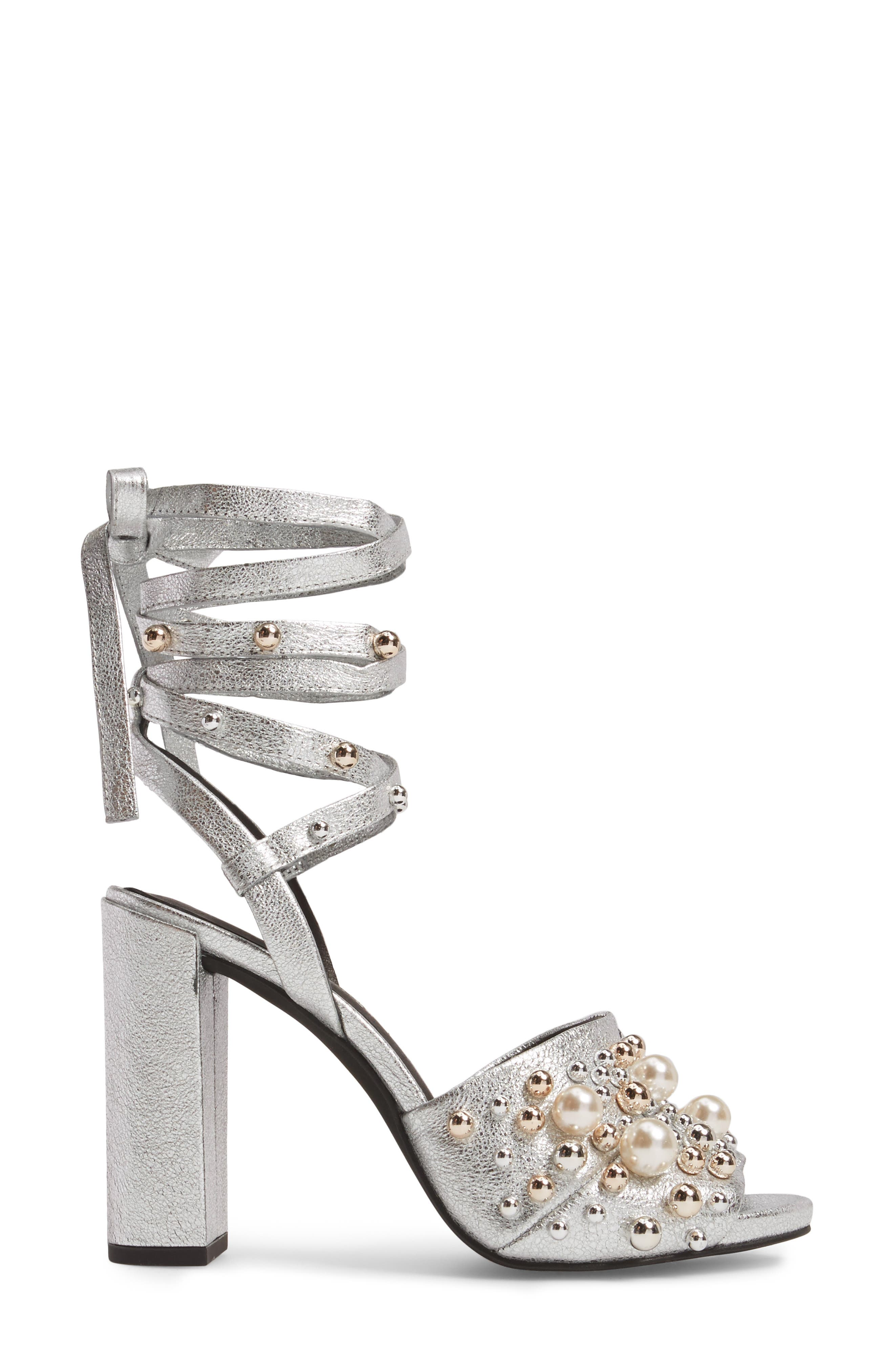 Dierdre Embellished Sandal,                             Alternate thumbnail 3, color,                             Nickel Leather