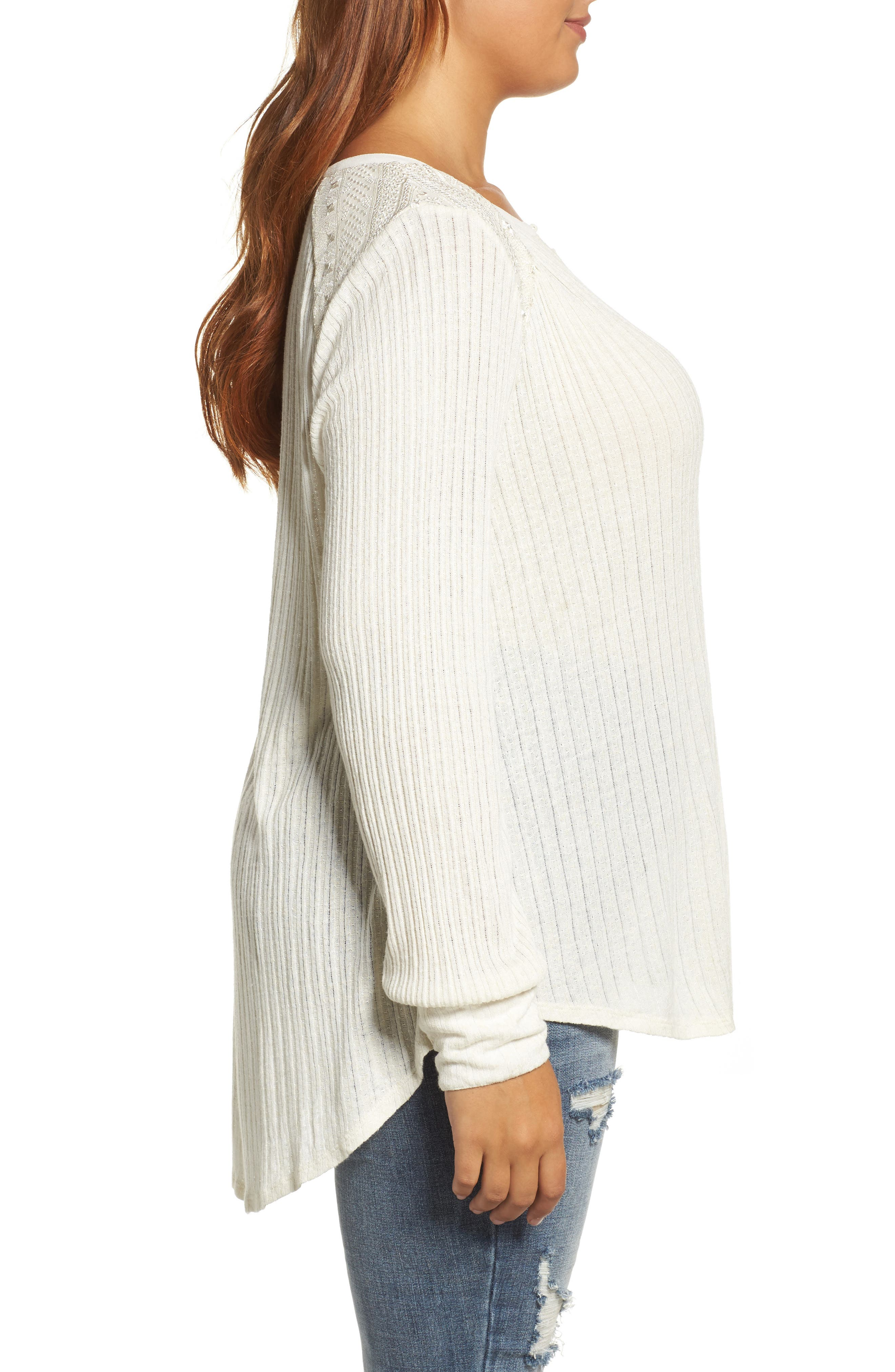 Alternate Image 3  - Lucky Brand Drop Needle Ribbed Pullover (Plus Size)