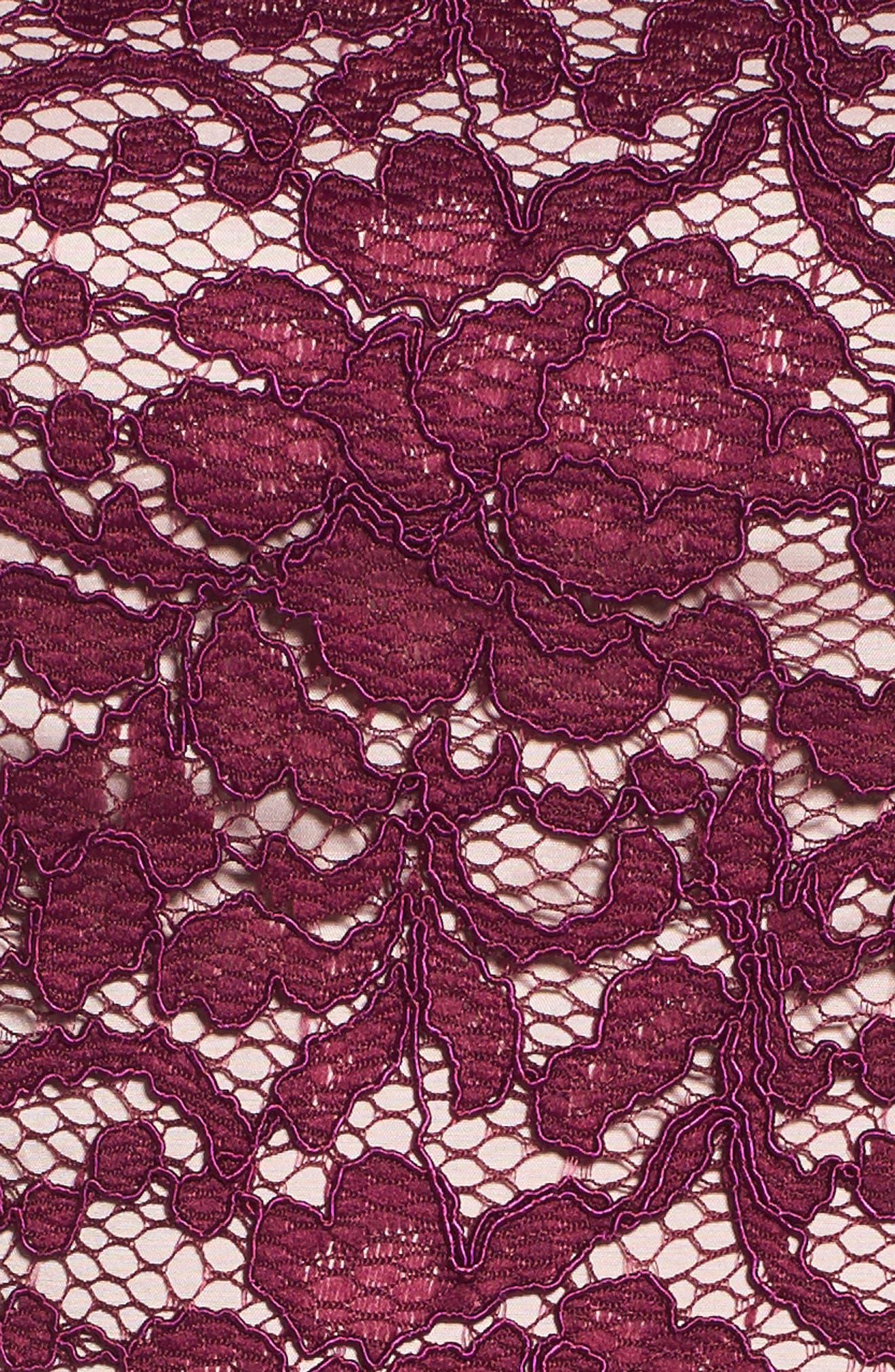 Lace Fit & Flare Dress,                             Alternate thumbnail 5, color,                             Dark Magenta