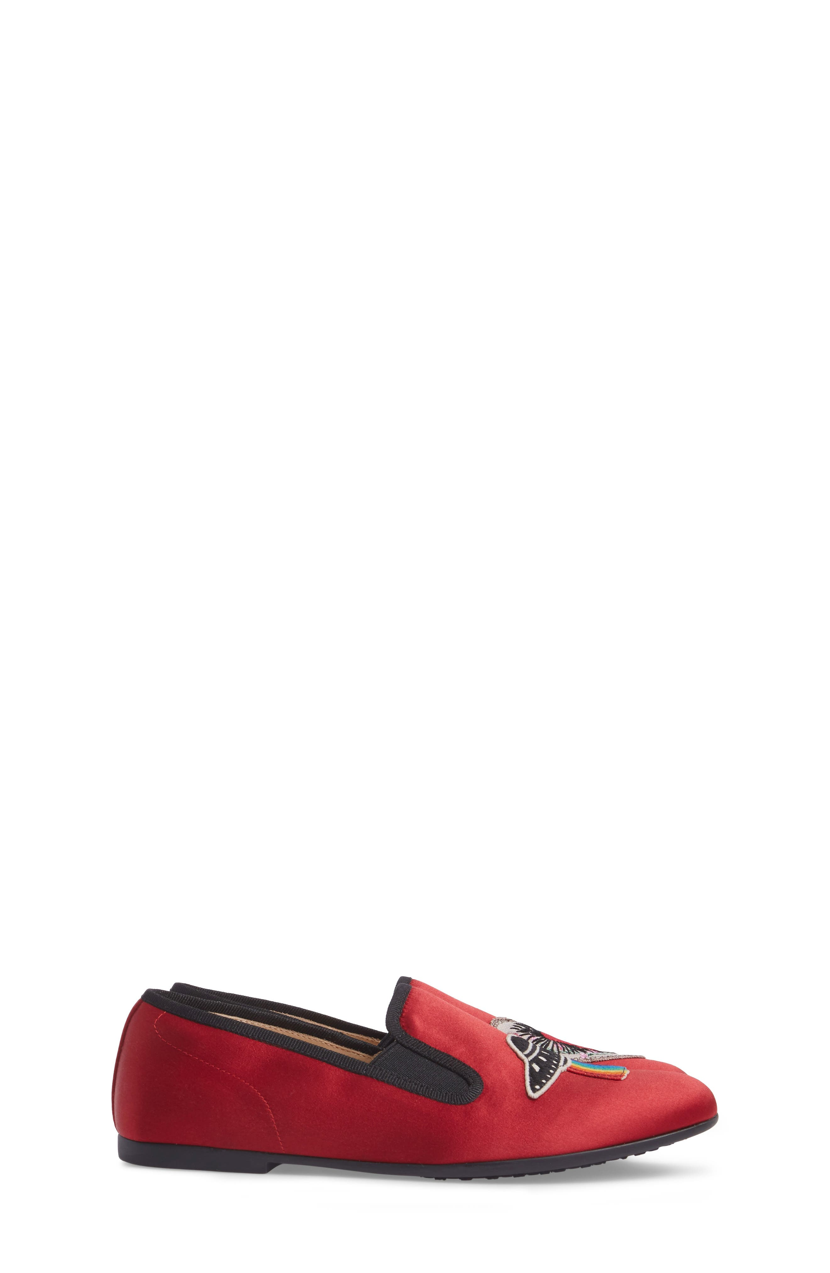 Nannie Appliqué Loafer Flat,                             Alternate thumbnail 3, color,                             Red