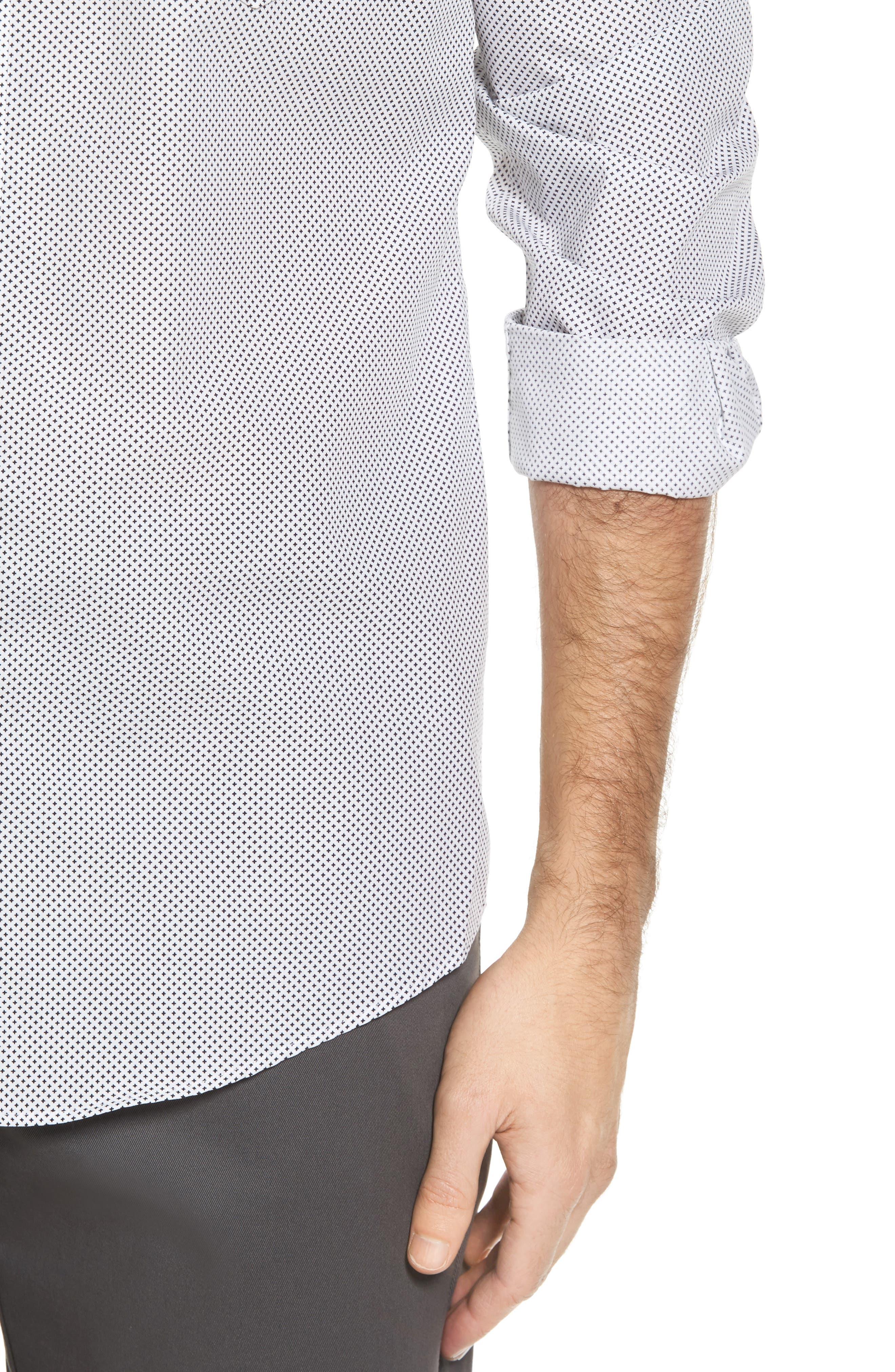 Regular Fit Non-Iron Print Sport Shirt,                             Alternate thumbnail 4, color,                             Black White Mini Cross